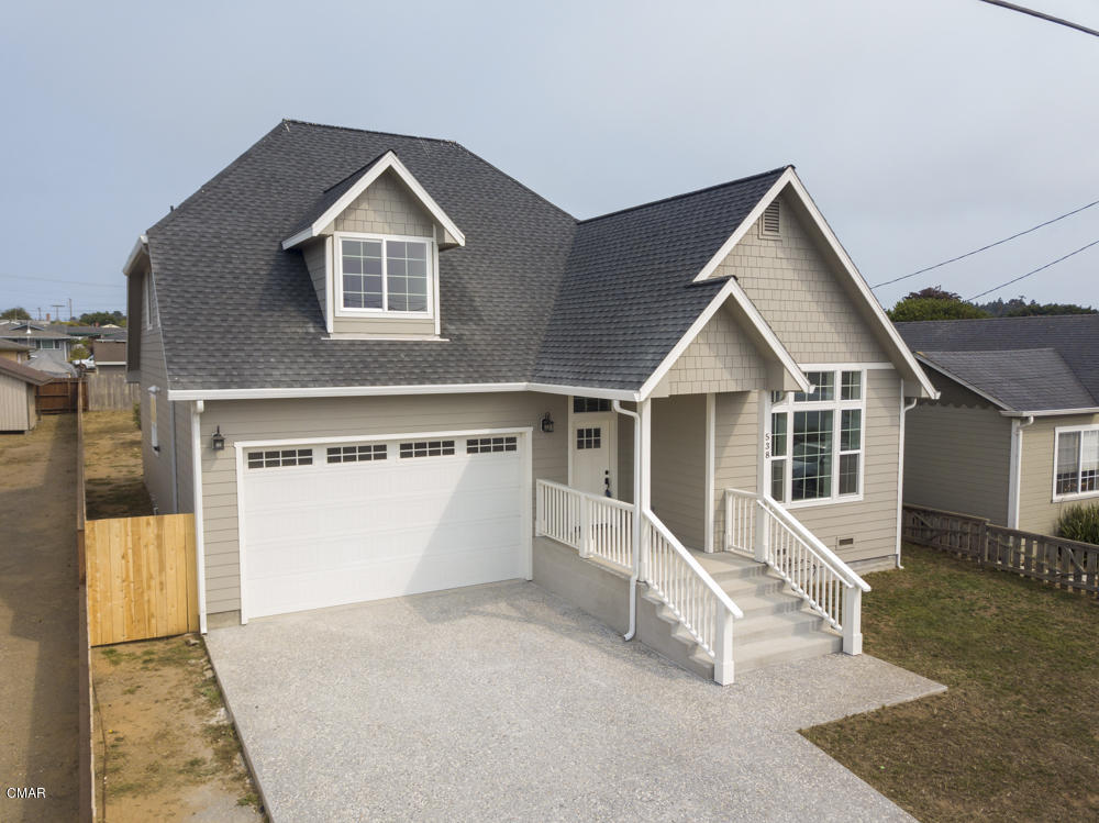 Brand new construction, ready to move in. Well thought out floor plan. Two story with main living downstairs. Two bedrooms and bath upstairs, peek at the ocean, main bedroom and large bathroom and half bath downstairs. Open floor plan and beautiful open areas. Top quality from top to bottom. Two car plus garage, great off street parking. Home meets new code for sprinklers too.  Virtual tour available
