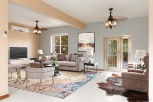 Digitally staged living room.