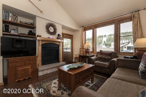 Cozy living room with patio facing the Continental Divide