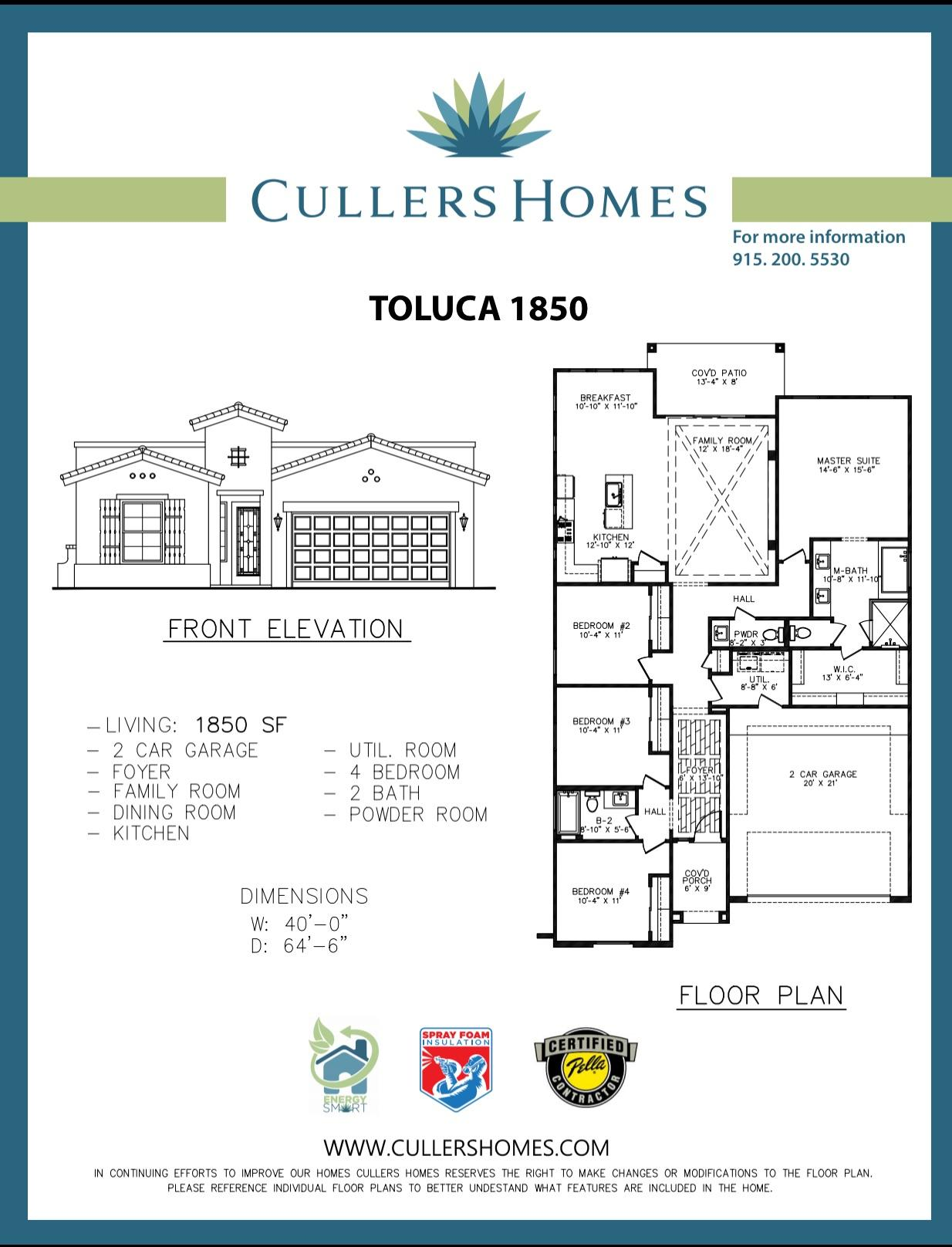Beautiful Cullers home with the Floor plan Toluca 1850 Features  4 Bedrooms, 2.5  Bath, Utility Room, Foyer, Spacious Master Suite.    Cullers Homes energy advantage package is designed to reduce energy consumption by 40% exceeding energy star ratings! Call the listing agent for more details!