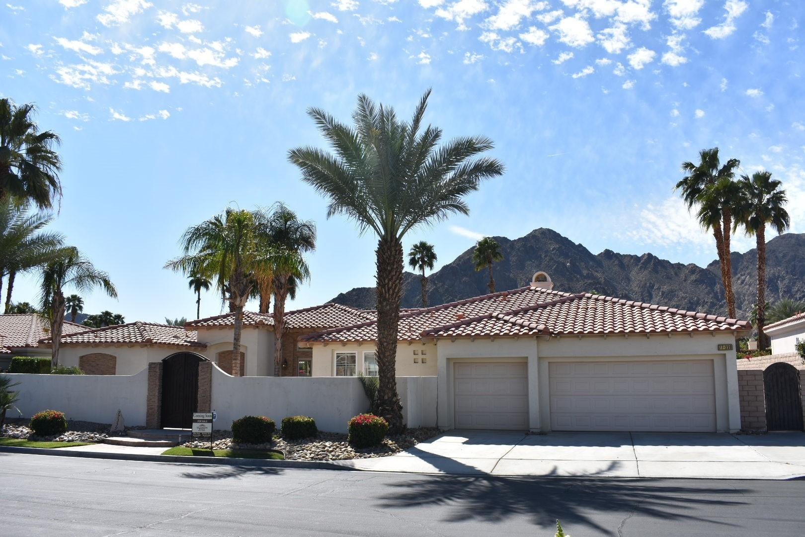 If you're looking for a home with unobstructed magestic mountain views, look no further. This gem is located on a very quiet street within the Indian Wells Country Club gates with low monthly HOA's. This highly sought after 4 bedroom, 4 1/2 bath, 2,840 square foot home is perfect to upgrade with your personal finishes. The backyard is perfect for entertaining guests with a BBQ island, outdoor fireplace and putting green with the mountains as your backdrop.