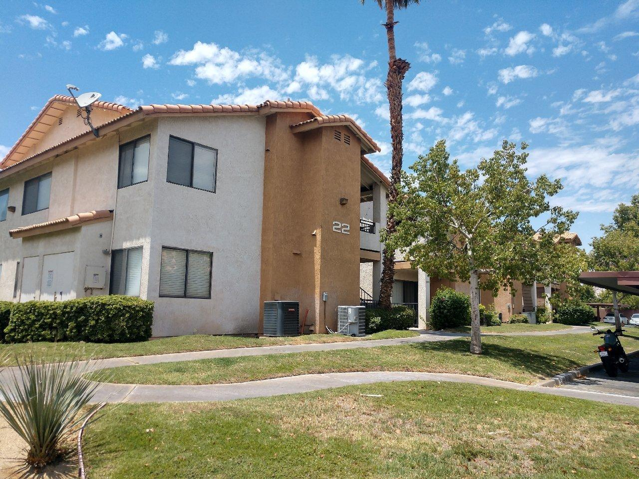 Back on the market!  Great value, great location!  Convenient ground floor, 1 bedroom/1 bath condo in Saddleback!  This unit features tile flooring, updated kitchen, walk-in closet, covered patio, washer/dryer and no stairs to climb!  Saddleback is a gated development with pools, tennis, reasonable HOA dues, located near shopping and convenient to the 10 fwy.  Makes an ideal vacation getaway or full time residence!