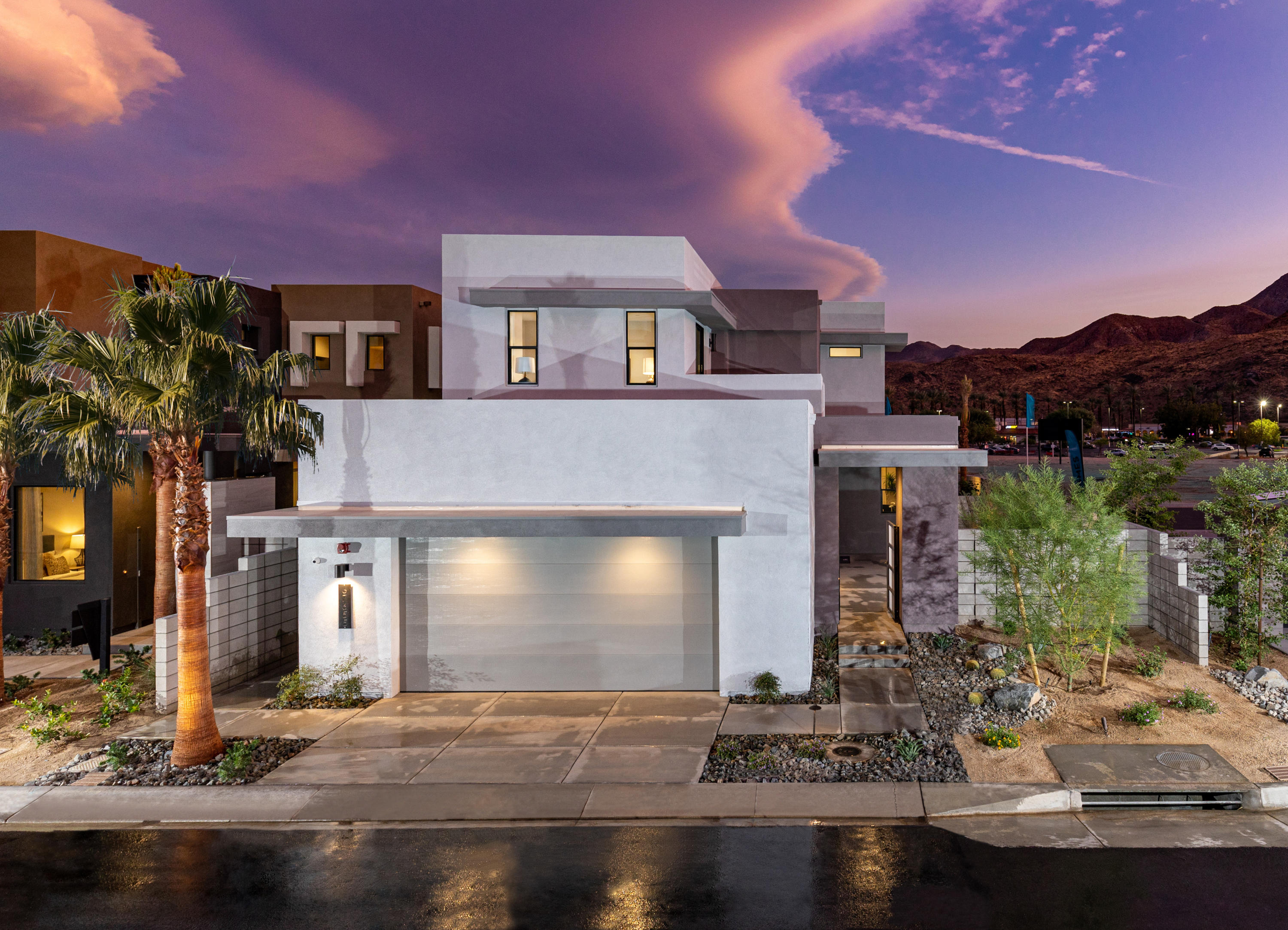 Lot 37, tribeca floor plan. Welcome to the District East, a small new home community of just 43 homes on the edge of Palm Springs and Cathedral City. This home features 3 bedrooms, 3 baths and 4 outdoor living areas to enjoy the beautiful mountain views!!! 2 large upper balconies, a large front courtyard and a private back patio with spa/spool included! Open concept 21 Century living, 8' low-e glass triple sliding glass doors that lead out to a beautiful patio. STANDARD - 24x24 designer porcelain tile flooring in all living areas and designer carpet in the bedrooms. Pre-wired for speakers in great room, outdoor living, and master bedroom. Social Kitchen with quartz countertops and backsplash. All Kitchen appliances included. The list goes on and on, these homes really are a must see. Call to schedule an appointment ! Reserve your new home today!! Photos are of model home** colors vary.