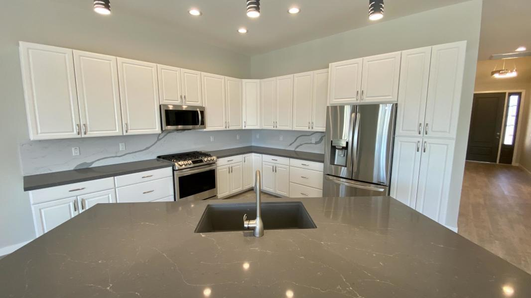 Are your looking for a New Home? Look no more, this New Home has it all! 4 Bedrooms, 3 Baths, 2700 S.F., 4 Car Garage with RV and Boat access. Low maintenance front and back landscaping with lights. Covered Patio (Over 200 SF), Block Wall Fencing with Rod iron gates on both sides. House is Extremely Energy Efficient (R 60 insulation in the ceilings, and R 27 on the walls, 2x6 Construction. Dual A/c units. 10 Foot Ceilings in the great room areas and 9 Foot ceilings in the bedrooms with ceiling fans throughout. Quartz Counter tops in Kitchen & Bathrooms. Upgraded Stainless Steel Appliances (Refrigerator, Stove, Dishwasher, Micro-Hood). Kitchen includes Pantry. Fans in each Bedroom, Great Room and Breakfast Nook. Recessed Lighting, Two-Tone Paint. Ceramic Tile throughout, built above Energy Efficiency Standards.