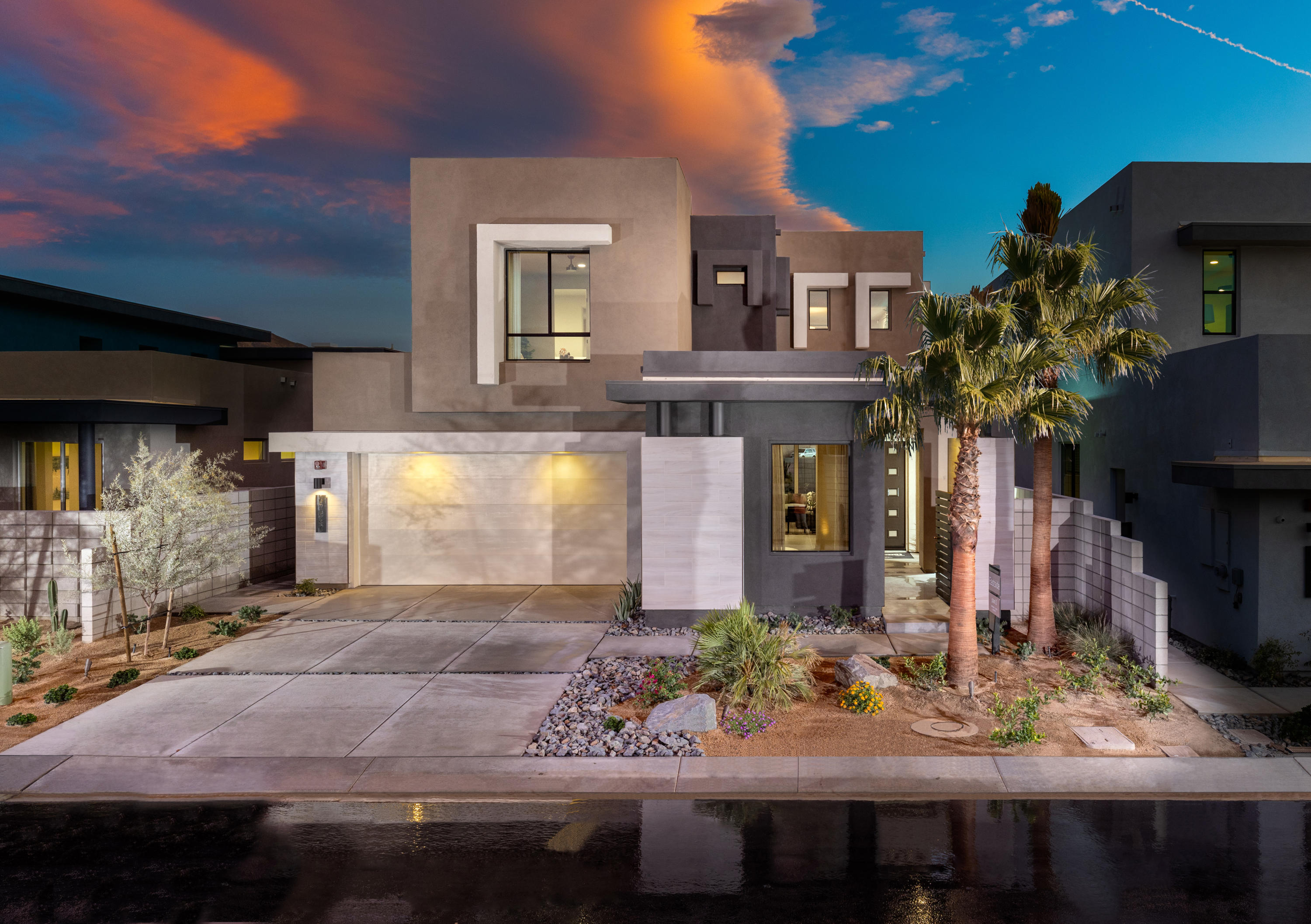 Welcome to the District East, largest floor plan, Eastside Plan 3, Lot 43 on the edge of Palm Springs! 3 Bedroom and 3 Bath.  Master retreat has sitting room and balcony! Plus Jr. Suite with double vanity and walk in closet.  Open concept 21 Century living, 8' low-e glass triple sliding glass doors that lead out to a beautiful patio with Spa/Spool Combo included! 24x24 porcelain tile in all living areas and designer carpet in the bedrooms. Kitchen Appliances included. Home is Pre-wired for speakers in great room, outdoor living, and master bedroom. Social Kitchen with Quartz countertops & full backsplash, the list goes on and on, these homes really are a must see. Call to schedule an appointment! Home will be ready Feb 2020 est.
