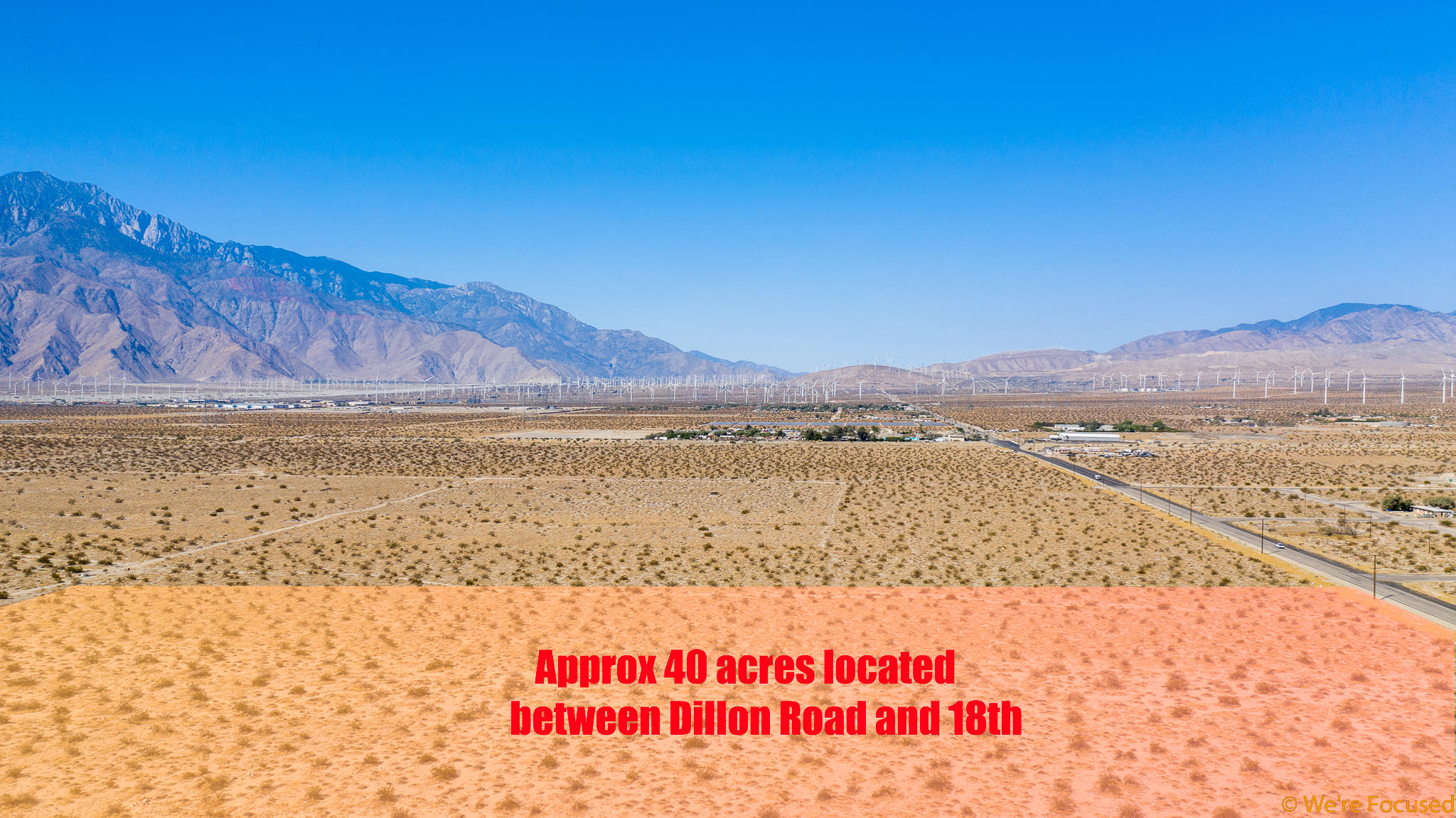 Located just 5 min from HWY 10 on and off ramps and equidistant to downtown Desert Hot Springs.  This property is ideally located for a new residential development.