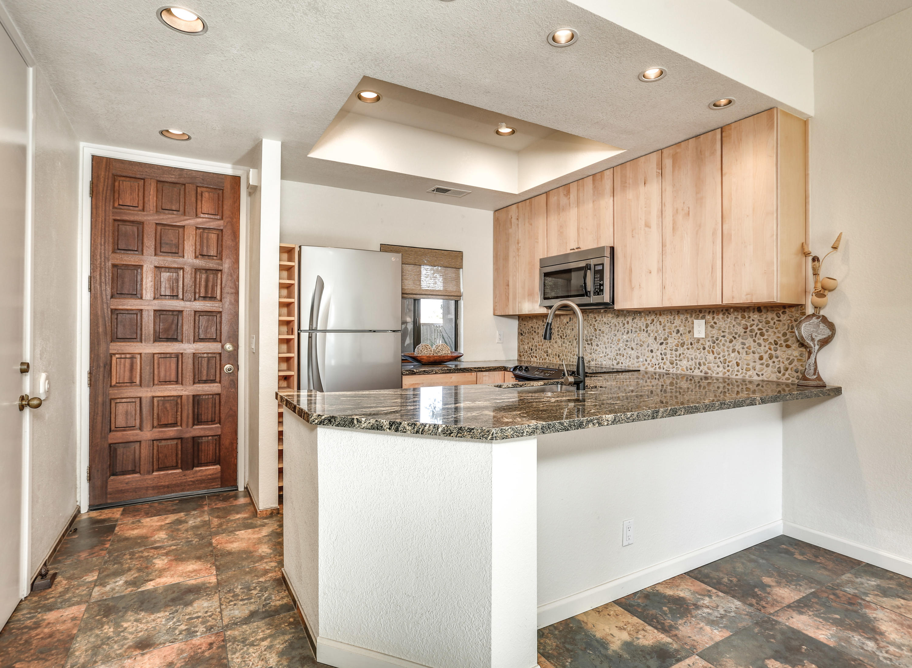 Back On Market!!!  Beautifully renovated and updated Home! This home is being Sold Furnished.. New flooring throughout., Window covering's are Shutters.. The kitchen has been redone, open airy feeling.. Super Cozy light & bright! Both Baths have been updated & remodeled beautiful vanities, showers. This condo offers 10' ceilings providing a lovely open feel! The covered patio is the perfect place for outdoor entertaining and relaxing with an extended back & side area.. Stunning Gated Front area for your Furry friends! Golf Course Views from you patio area.. Peaceful and Stunning! Excellent rental condo! Land Lease good till 2069. Come visit Desert Princess CC Its the Best! we offer a 27-hole PGA Championship golf course! Our HOAs includes Social Membership to the club with 20% off food, Cable with HBO & Showtime, Social, Tennis, Fitness Memberships, beautiful grounds & more! You're close to all the desert has to offer including easy access to Palm Springs, The PS Airport, The 10 Freeway and much, much more. Palm Springs is growing in many ways including the upcoming hockey stadium! Desert Princess offers easy access to it all! Call anytime for a private showing..