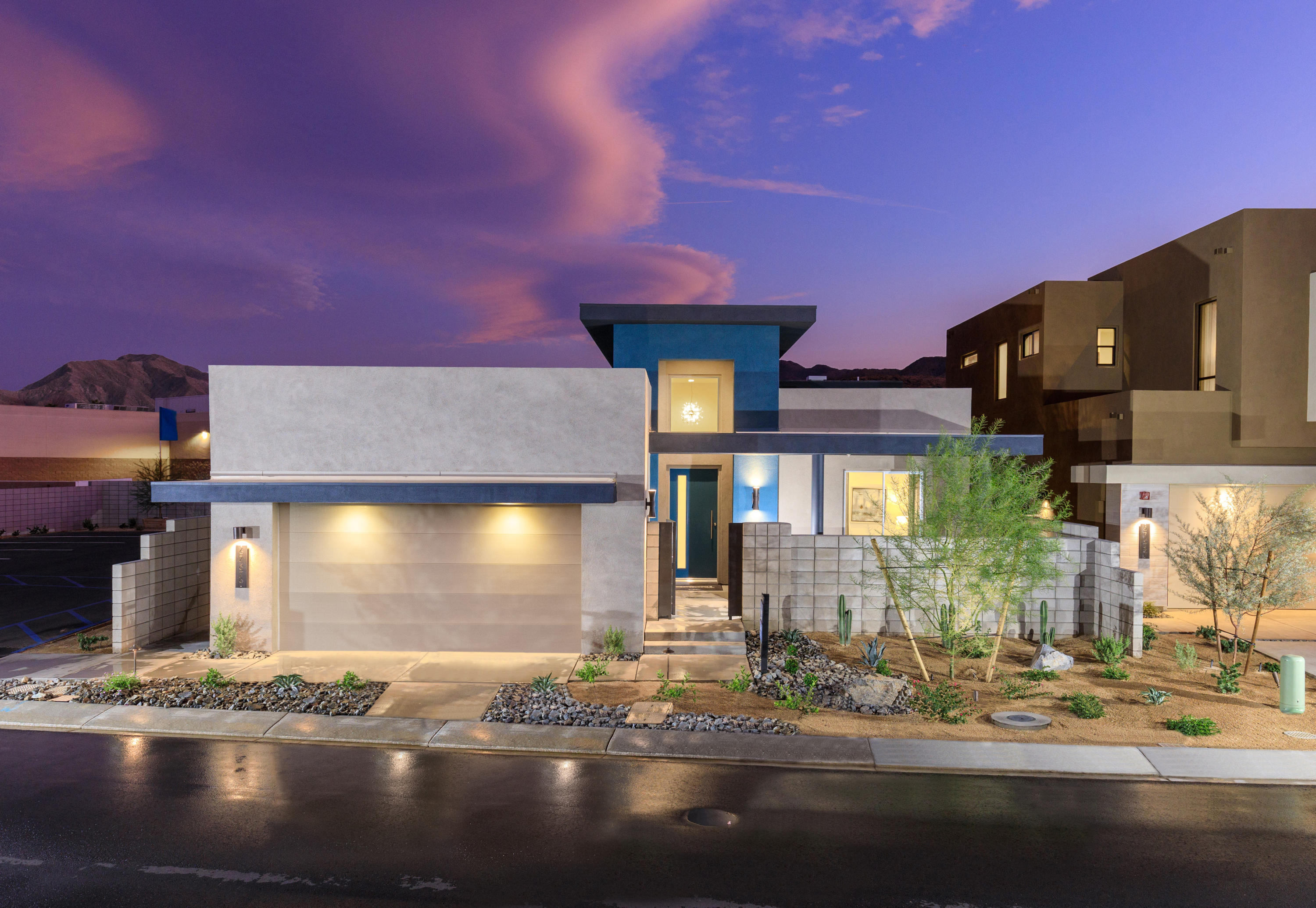 May 2021 Move in! Welcome to District East, a boutique new home community on the edge of Palm Springs & Cathedral city.  Parker Signature Series Lot 11. This Single Story Stunner boosts grand ceiling height, clerestory windows, light, bright and open. 2 bedrooms, a den or 3rd Bedroom and 3 baths at 1,836 Square Feet. Open concept 21 Century living, 8' low-e glass triple sliding glass doors that lead out to a beautiful patio. STANDARD - 24x24 designer porcelain tile flooring in all living areas and designer carpet in the bedrooms. Pre-wired for speakers in great room, outdoor living, and master bedroom. Social Kitchen with quartz countertops and backsplash. All Kitchen appliances included. The list goes on and on, these homes really are a must see. Call today to book an appointment! Photos are of Model Home rendering colors/options may vary.