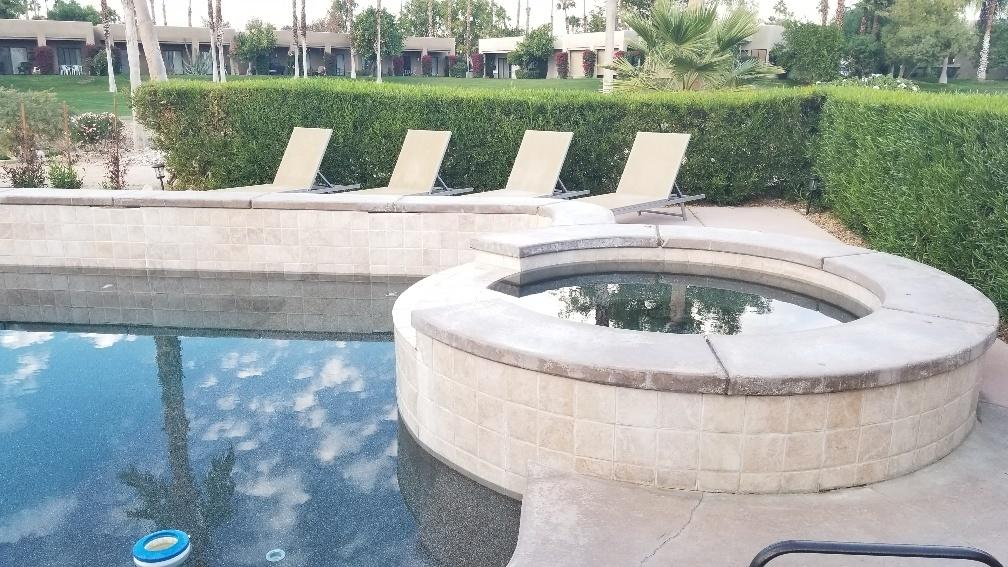 Beautiful private pool/spa with built in BBQ grill.  Lots of areas to lounge and watch the golfers go by on Cielo 5, the San Gorgonio mountains in the distance.  All tile flooring in the 3 bedroom home.  Open feeling with family room and living room with dining room.  Eat in kitchen with island.  The Desert Princess community has an affordable 27 hole PGA Championship golf course, no tee time lotteries, no initiation fees, and is rated among the best in the valley by Golf Digest. This quiet community is away from the noise yet less than ten minutes from Palm Springs International Airport. Desert Princess has 34 swimming pools, 10 Tennis Courts, Health and Fitness Center. Land lease expires 2069, ground rent is $105.13 per month.