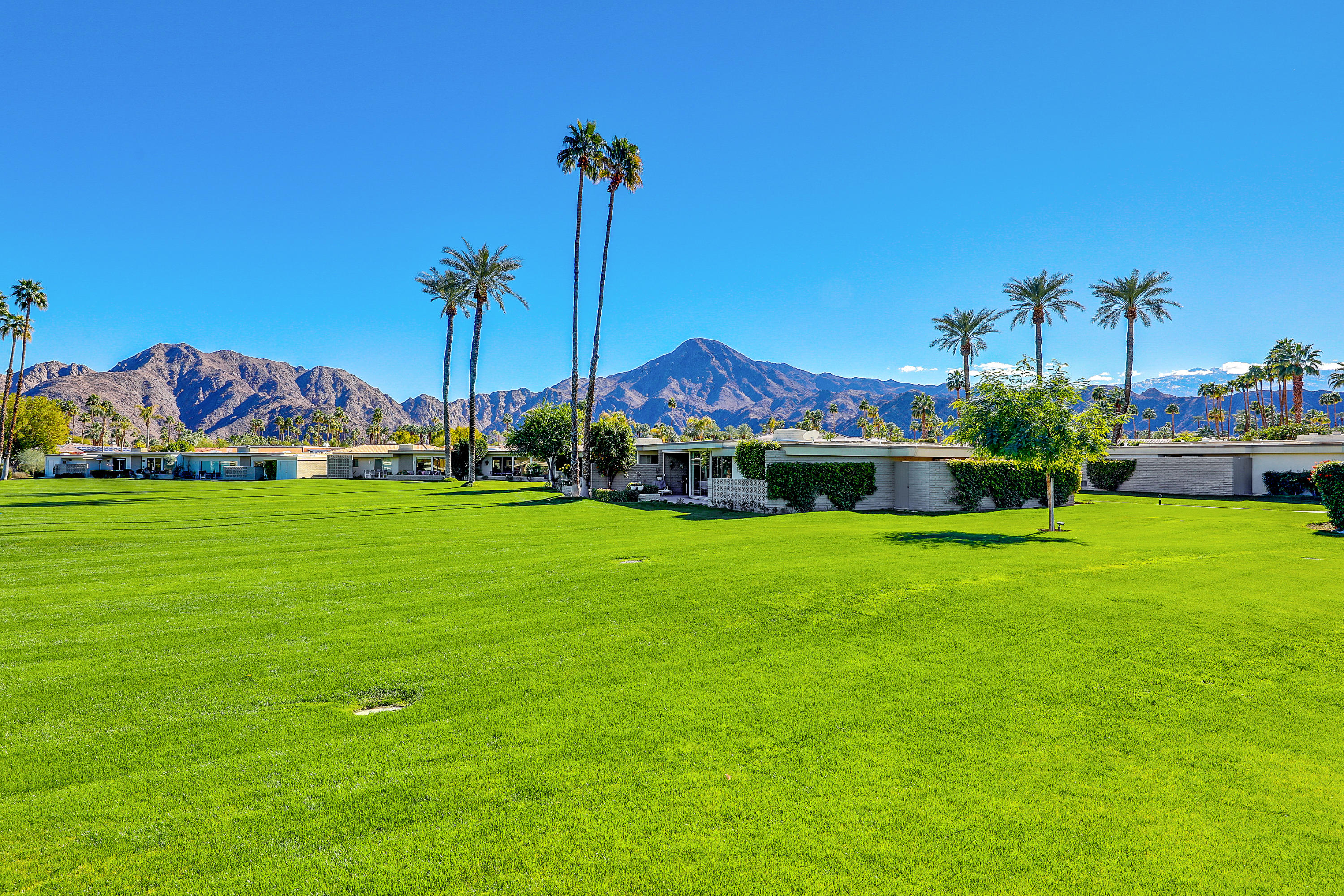 Beautiful 3bedroom  Mid Century modern condo in the gated community of Casa Dorado. This beautiful condo faces east with greens and mountain views.