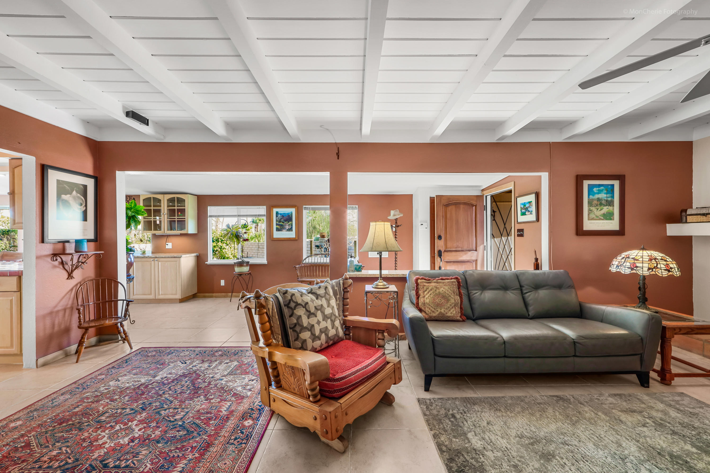 This tranquil and peaceful oasis in Cathedral Cove offers an expansive yard with pool/spa, covered patio and deck,  an abundance of desert foliage and flowering trees and is gated and private.  The living room has a wonderful fireplace for cozy winter nights.   There are two bedrooms and two bathrooms,  an office  and separate laundry room. The master bedroom has a large walk in closet.  The laundry room also serves as a pantry with a second refrigerator.  Solar power is owned thus keeping the cost of utilities to a minimum.  The exterior of the home was just painted and new carpeting in the bedrooms and office.  This truly is a special property that has been well maintained by the owners.