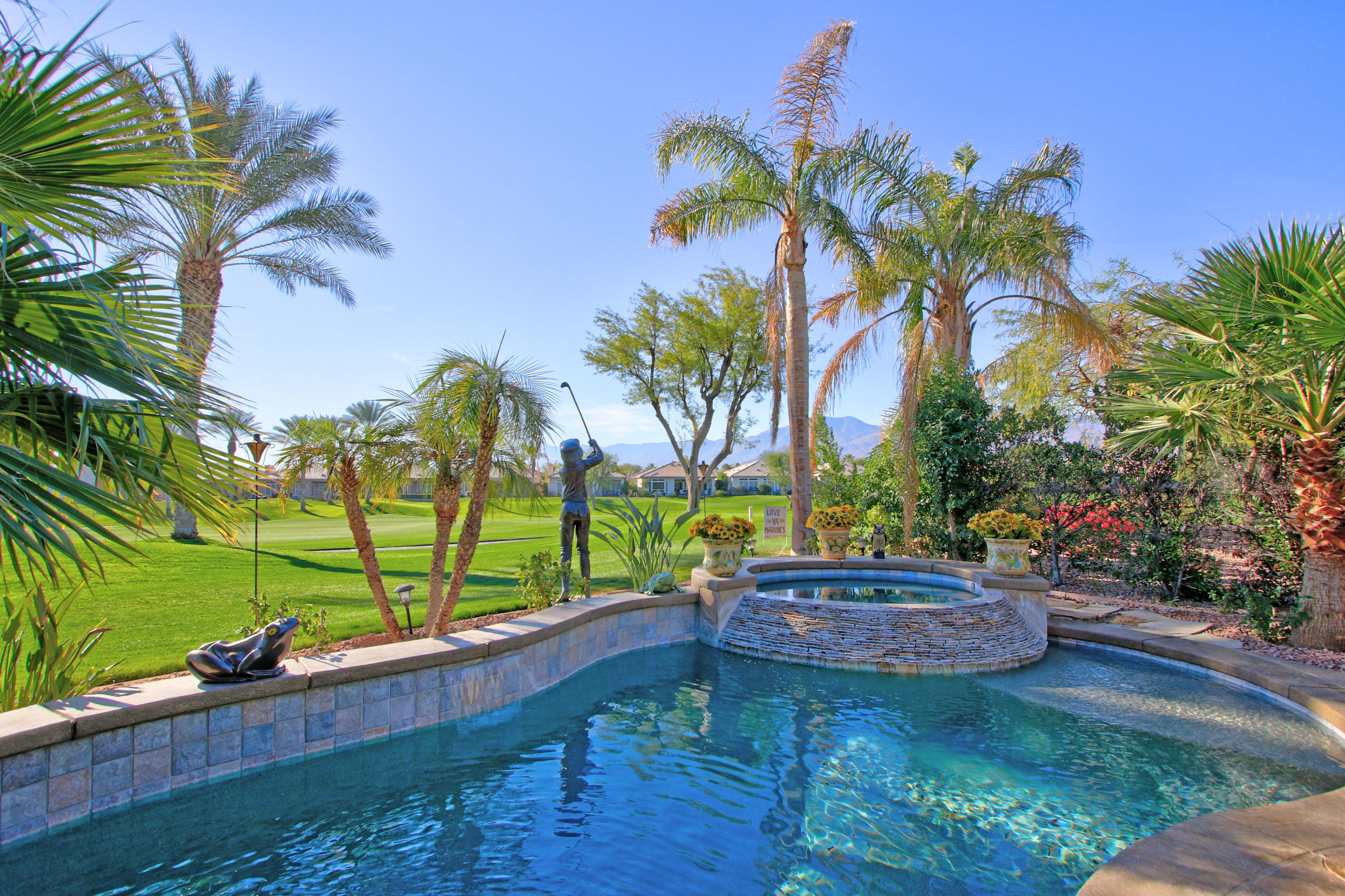 Have you been looking for a premium location, beautiful remodeled property with a private pool and Spa on a quiet Cul De Sac  in Heritage Palms overlooking the 17th fairway with views?  You have just found it!  This exceptional property has been meticulously maintained.  The customized home features panoramic views, private salt water pool and Spa, huge kitchen with breakfast bar, Master bedroom suite with custom built in closet, crown moldings, custom painting, 2 car garage and separate cart door entrance, recently epoxy garage floor installed, walkways surround this property with new art overlay coverings, a side yard with artificial turf, and so much more! Get ready to enjoy the lifestyle that Heritage Palms has to offer. The amenities include clubhouse facilities,  Championship golfing, lighted tennis courts, restaurant, lounge and fitness center, community pools and spas. Come see this property and get ready to say you are home at Heritage Palms.
