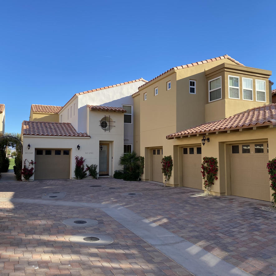 Owner is willing to carry some seller financing on this unit! Updated and upper-level condo located on Hole 9 of the beautiful Palmer 18-hole community golf course.  The panoramic views overlook both Holes 8 & 9 with the backdrop of the Shadow Hills to the North. This unit is currently leased and the sale is subject to assumption of the current lease which expires Jan 7, 2022.  The unit features 2 well appointed and spacious Master Suites, each with separate enclosed shower and large soaking tub, enclosed closet and door/slider to balcony. Additionally, there is a 3rd en-suite guest room.   You are a short walk to the pool/spa area with showers/restroom facilities and BBQ for Condo owner's private use. Also within a short walk are all Club facilities including Clubhouse with bar, indoor and patio dining, pro-shop, meeting rooms, fitness center, tennis, pickle-ball and bocci ball courts.  HOA fees are outlined above. Buyers are responsible for the one-time Club Social Membership initiation fee of $6000 and monthly costs of $517. Optional Club Golf membership initiation fee is $15,000 with monthly costs of $753 for unlimited play and club organized tournament participation.