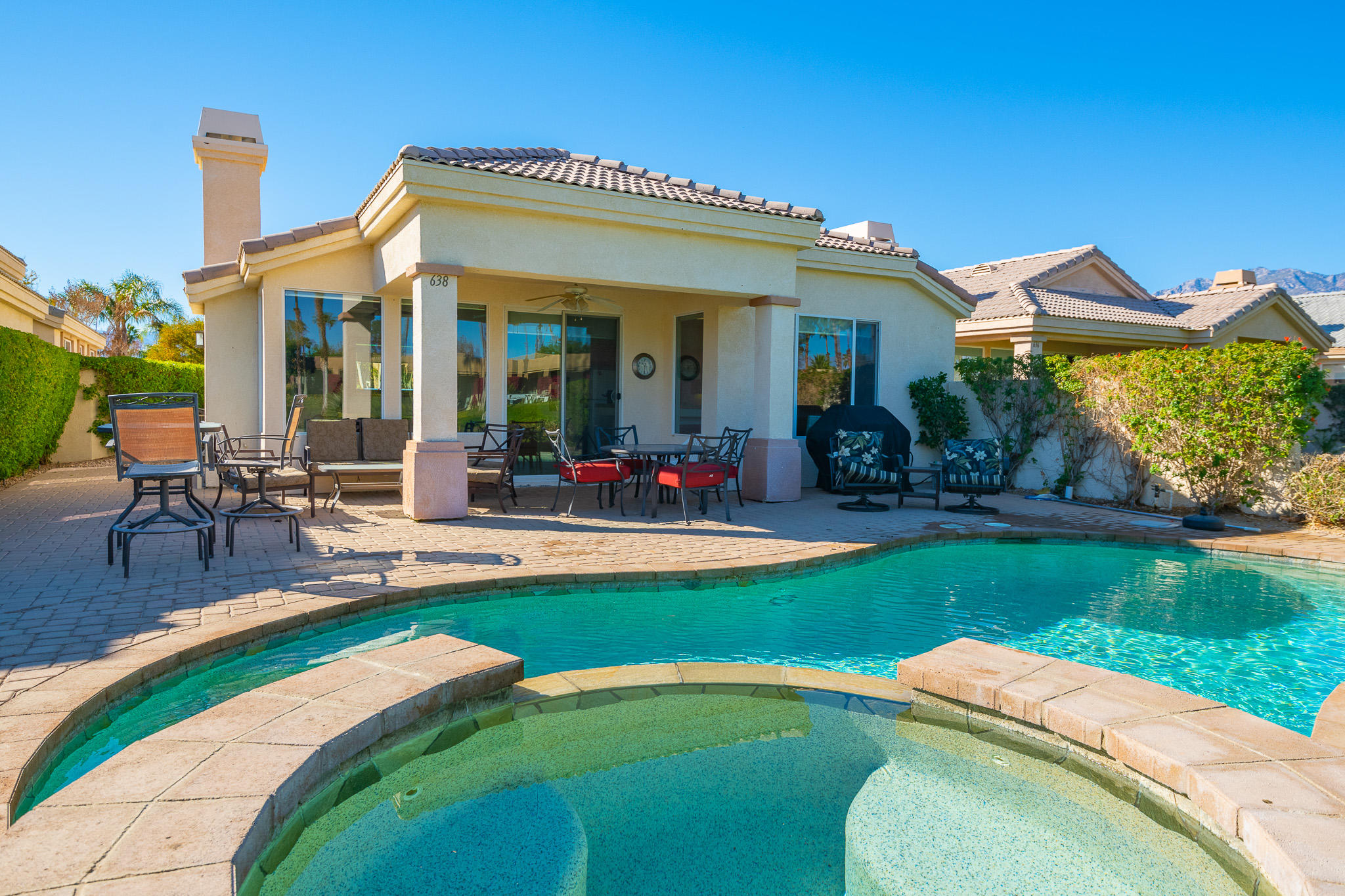 LAKEFRONT POOL VILLA!  One of the most desired locations within Desert Princess Palm Springs.  Your own private pool and spa with a lake and golf course frontage and custom cobblestone patio.  Overlooks the demanding Cielo #8 tee shot across the lake.   Absolutely stunning!  Well cared for and turnkey ready to move in, or use for vacation rental income at $5500 per month in season.  Also eligible for a short term vacation rental permit (STVR).  Contact the City of Cathedral City for more details.  Incredible pool deck with golf course view.  HOA includes Country Club membership, tennis, spa, fitness center, racquetball and more. 27 holes of PGA championship golf.  Centrally located between downtown Palm Springs, Palm Desert and under 2 hours from anywhere in Southern California.  Virtual Showings via Zoom or Facebook Live, or come by in person for a showing.