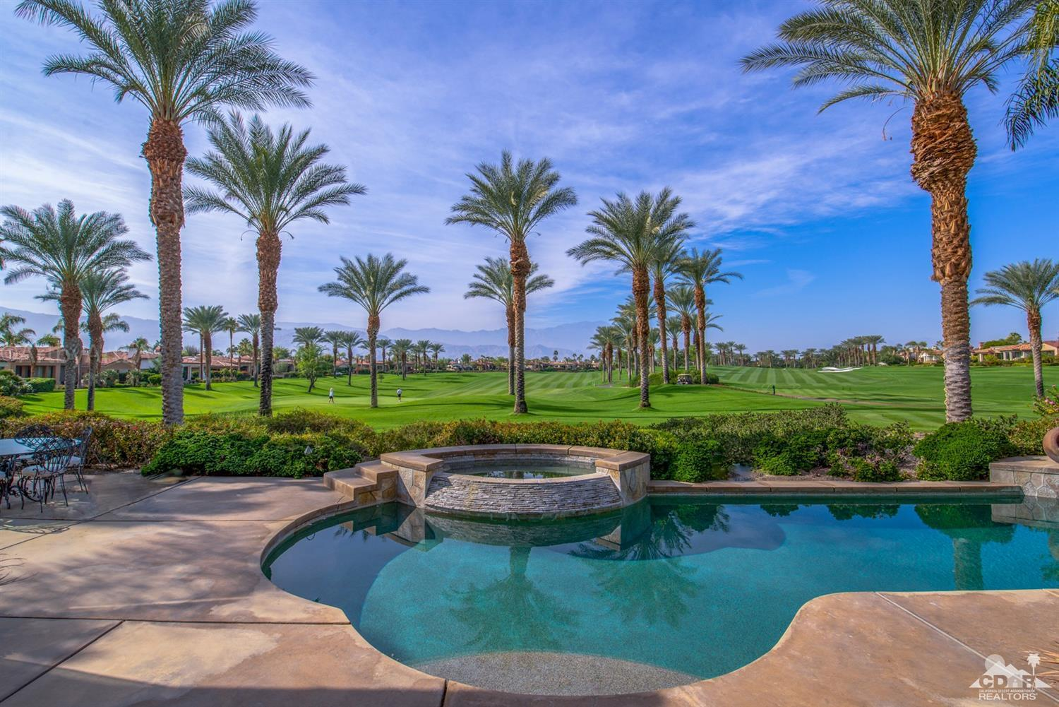 Welcome to the most stunning Community in Indian wells, Toscana Country Club. This fabulous home has 180 degree views of Southern and Western majestic mountains overlooking the double fairway 2nd and 3rd of the Jack Nicklaus SIGNATURE GOLF COURSE. You will arrive to a magnificent curb appeal leading to a charming courtyard and private casita. Upon entry you will be greeted with the most striking, breathtaking,and endless mountain views! Interior features include elegant travertine floors, four grand fireplaces, Wolf and Subzero stainless appliances. Outdoor entertaining includes covered seating area with fire place, a 40'pool, spa, buit-in cooking and BBQ with gorgeous flagstone counters. You will find this to be one of the most desirable homes and locations of Toscana country Club has to offer.
