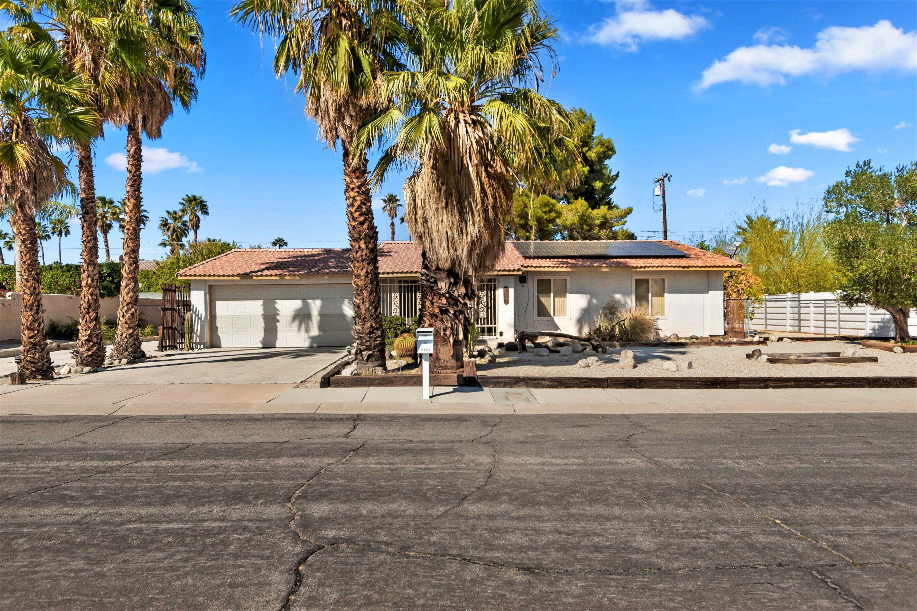 Great Investment Opportunity for Contractors! 4 bedroom 2 bath home in the desirable area of Desert Park Estates.  Located on a beautiful street in Palm Springs with gorgeous mountain views and located on a large lot.  RV parking, new double pane windows, enough front parking for 5 cars, a commercial water softener and a PAID FOR/OWNED SOLAR!