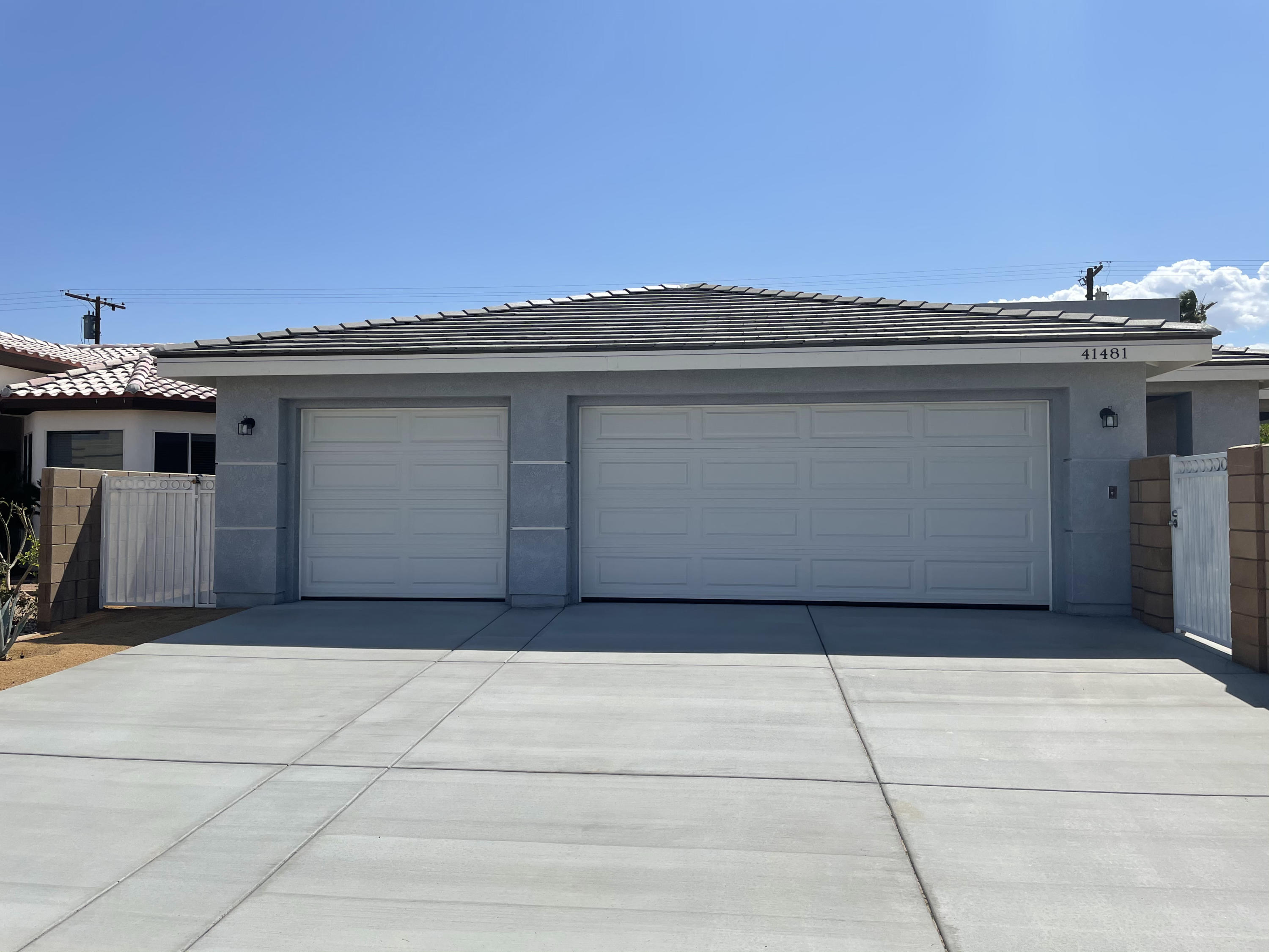 Just built brand new home. Solar panel, sound system, 3 car garage, RV parking are all there. Beautifully done with a huge kitchen island, spacious living & dining area. Step in showers are very convenient. Enough space for a pool and spa. It is not in the gated community so no HOA dues and short term rental is allowed.