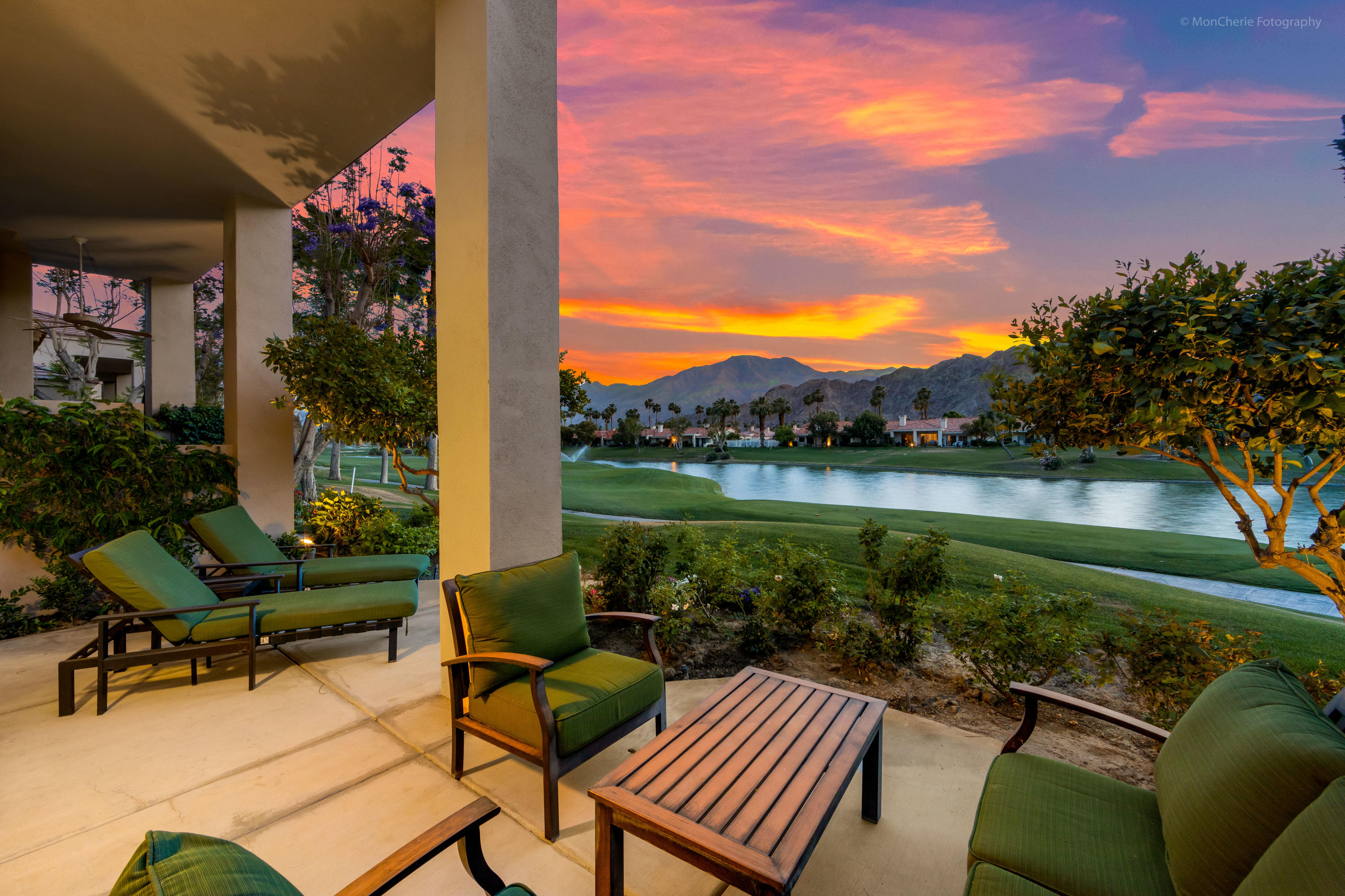 LOCATION,LOCATION,LOCATION! With Panoramic Western Views of the Majestic Santa Rosa Mountains, 7th hole of the Palmer Private Golf Course and Sparkling Lake at PGA West, The Western Home of Golf, this ideal 2 BD/2 BA, Champion One Condo has updated flooring throughout with tile and carpet, updated kitchen with stainless appliances,  gas cooktop, and updated recessed lighting, With Plantation Shutters throughout, Great Room with high ceilings ,comfortable Dining Room area, this has it all. Enjoy a spectacular Desert sunset or sunrise on your spacious rear patio, which is just steps away from a pristine community pool for your enjoyment. HOA's include maintenance on building and grounds, all landscaping in front, back, side, and courtyards, irrigation water and equipment, exterior paint, roof, earthquake insurance, cable, internet, trash, and 24 hour guarded gate and security. Offered Turnkey Furnished per Written Inventory