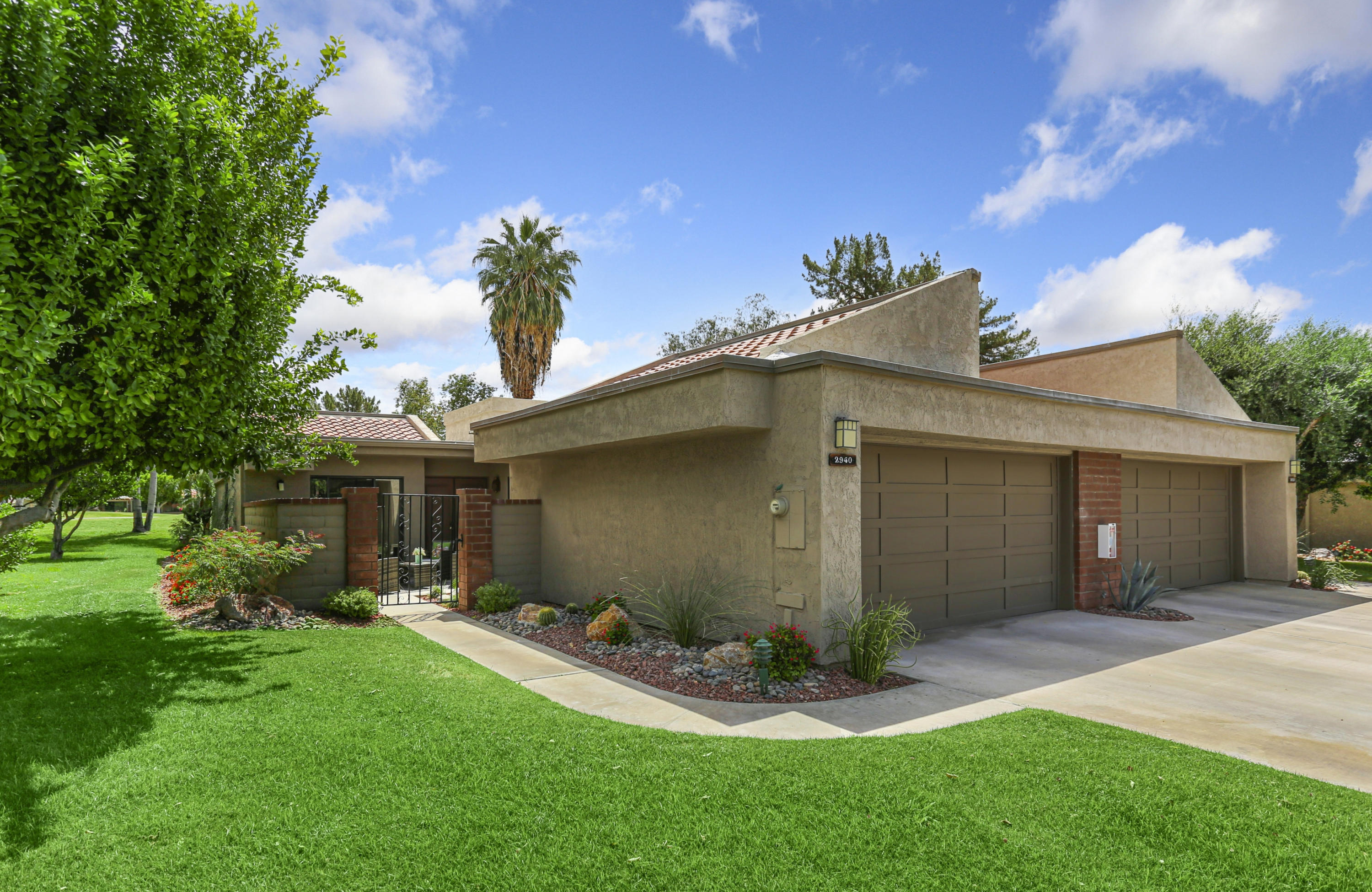 Beautifully maintained 2 bedroom 2 bath condo with atrium conversion to den and being offered turnkey furnished.  So much to offer here, just take a look at the pictures.  Highly desirable gated West Gate Complex and located in Palm Springs.  Do not miss this one.