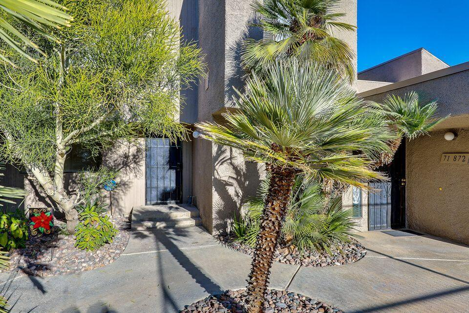 Gorgeous and spacious condo located across from the River in Rancho Mirage which has many shops and restaurants. Two levels. First level has the kitchen, living room, one bedroom and a bathroom. Second level has the master bedroom/bath, the third bedroom and bathroom. Interior includes tile and carpet flooring, ceiling fans and much more. Nice layout with a patio and pool views.