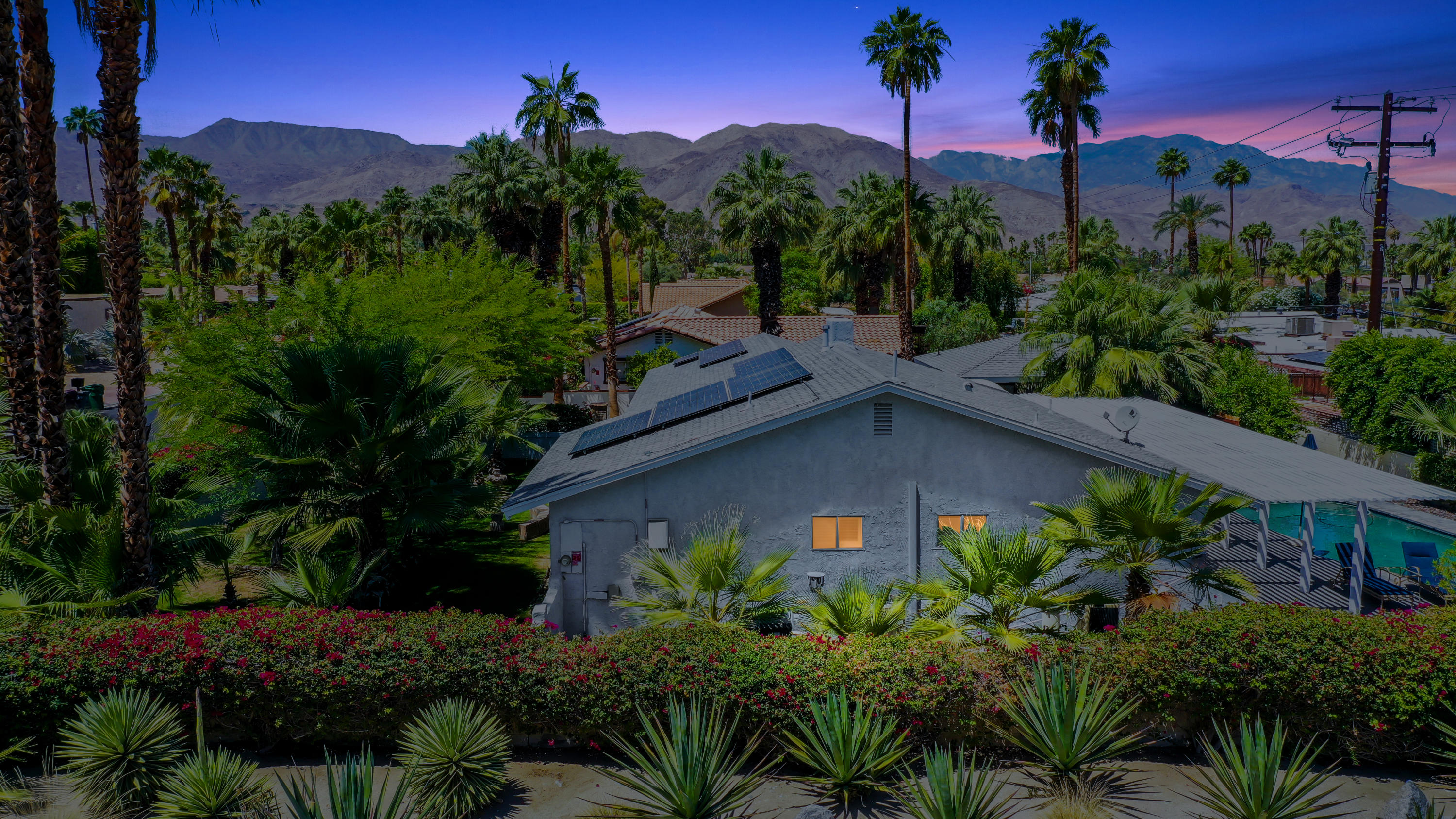 Welcome home to 'Hidden Hacienda', a lovely, remodeled South Palm Desert pool home. Location, Location, Location! Located on the coveted street of Old Prospector Trail, just 5 street blocks from the world famous El Paseo, ''The Rodeo Drive Of The Desert''. This 1962 sq ft home, plus the 483sq ft detached casita, on a 11.059 sq ft corner lot, offers a serene, very private oasis behind walls lined with lush greenery, colorful flowers and towering palm trees. 3 bedrooms + 2 bathrooms in the main house and 1 bedroom, 1 bath in the casita. Relax by the sparkling pool and spa, surrounded by interlocking brick pavers, under the swaying palm trees while you enjoy the views of the Santa Rosa Mountains. The  charming casita offers the versatility of hosting friends and family and/or for use with short term or long term vacation rentals if you like. Attached 2 car garage. Interlocking brick pavers adorn the driveway. No HOA, no HOA dues. Schedule your appointment to see this delightful resort-like property today!