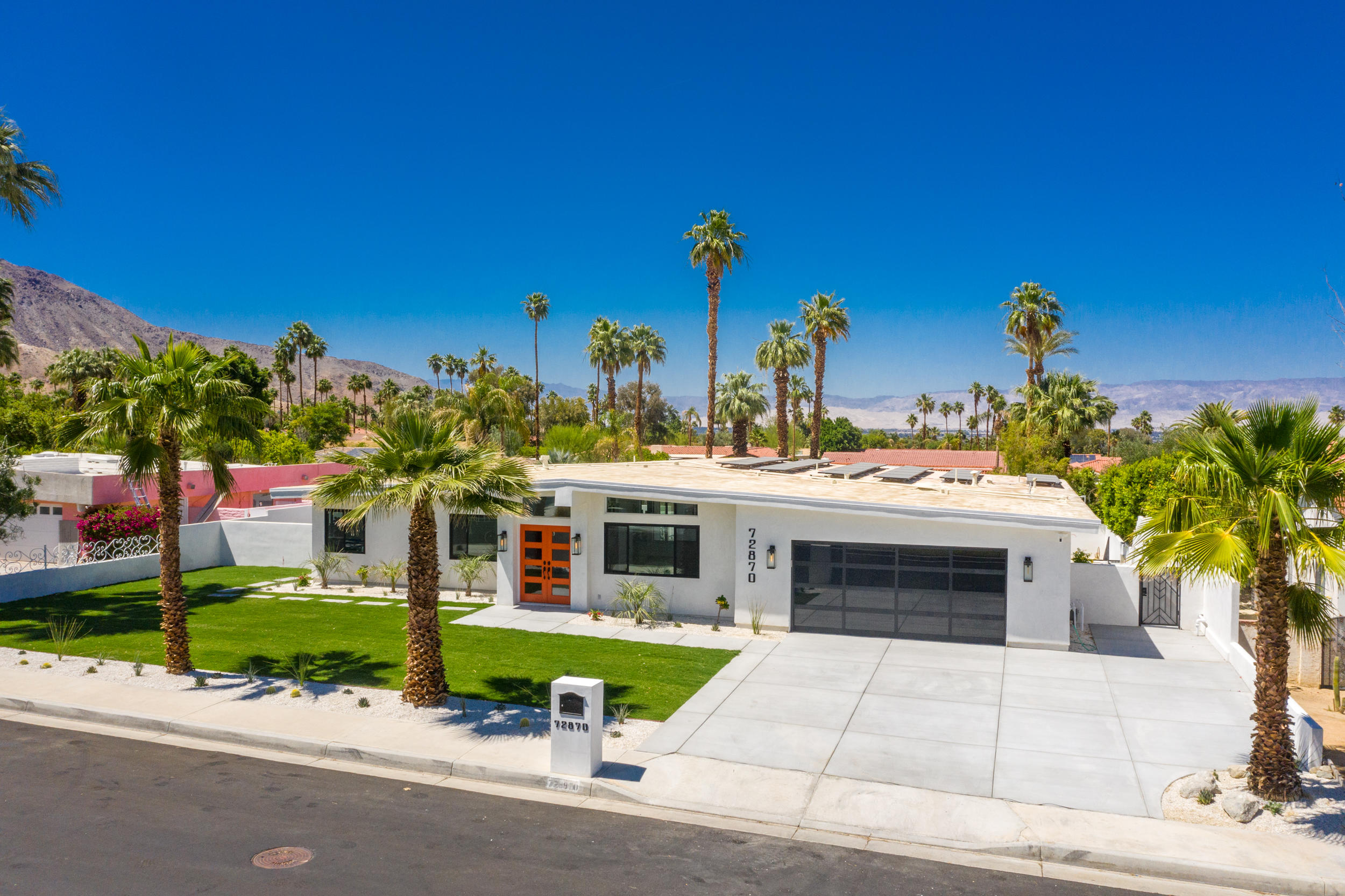 South Palm Desert STUNNING remodel. This gorgeous contemporary home was just fully renovated. Open floor plan with separation of master suite and guest bedrooms. Large kitchen with ample counter and cabinet space, as well as sunken bar area. This masterpiece property is also equipped with a private Casita with full kitchenette. Step into the expansive backyard with over a quarter acre of space to entertain! Dine on the first level under the covered patio or step down to the lower level to swim in the sparking pool and lounge by the custom firepit. Amazing panoramic mountain views all around! Close in proximity to El Paseo, shopping, restaurants, and nightlife! Call today for more information!