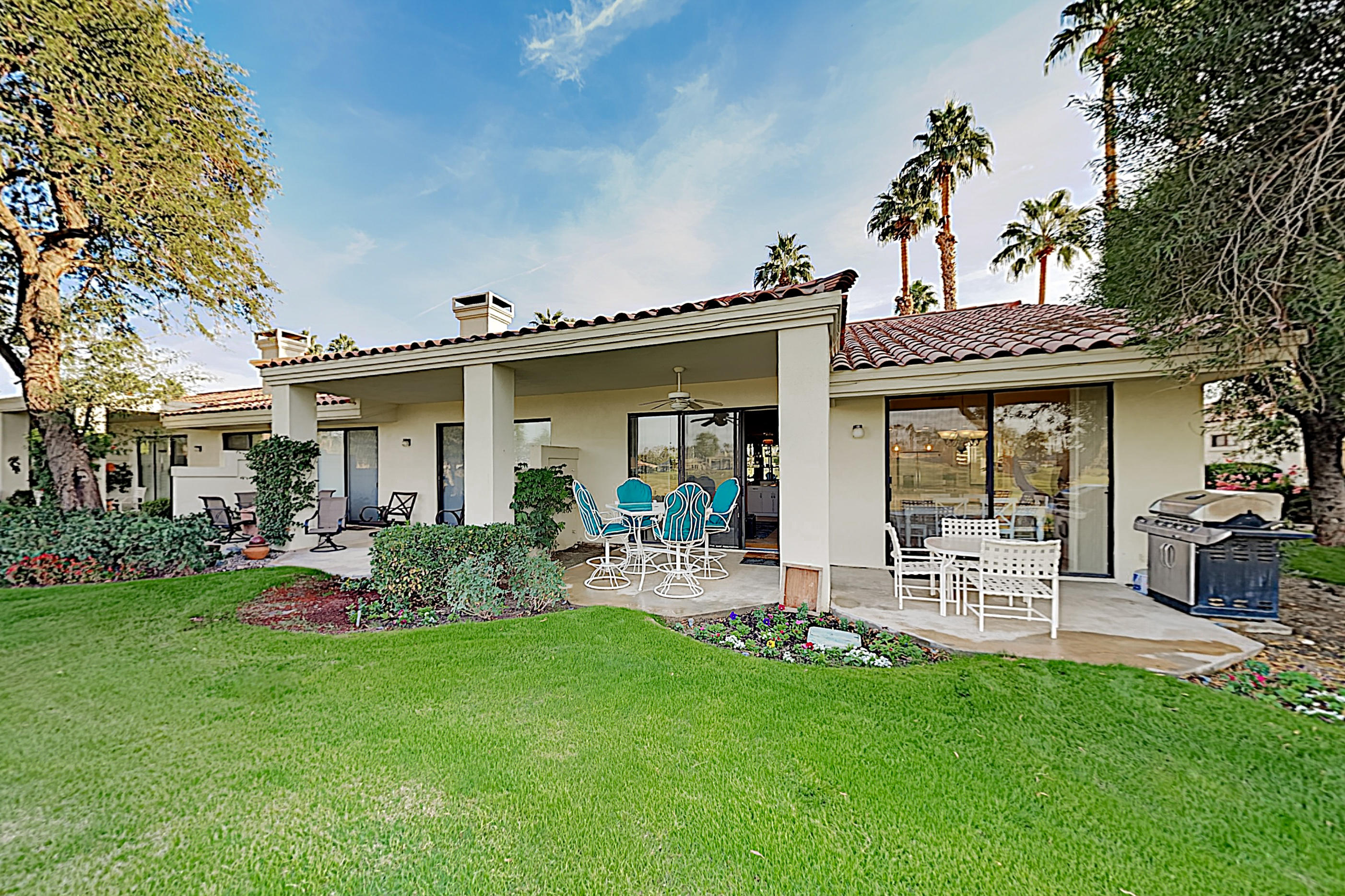 Beautifully remodeled Champion 3 floor plan with stunning Golf Course and Mountain Views! Located just off the tee boxes of the #15 hole of the World famous Stadium Golf Course at PGA West, Home of the American Express PGA Golf Tournament every January. This End Unit Condo has a tastefully remodeled kitchen, flooring, baths, and is ideally located near a Community Pool and Spa. Enjoy cozy bright mornings and peaceful evenings on your large covered rear Patio. Inside, the spacious 1,627 SqFt layout features 3 Bedrooms and 2 Bathrooms, a kitchen that has been upgraded with Granite Countertops and Stainless Steel Appliances. You'll have plenty of space to entertain in the Open Living and Dining Area which features a Wet Bar, Vaulted Ceilings, Fireplace, and views to the back patio on tp the Golf Course.The Master Retreat has double vanities, walk in shower, plenty of closet space, and a Private Courtyard. HOA's include maintenance on building and grounds, all landscaping in front, back, side, and courtyards, irrigation water and equipment, exterior paint, roof, earthquake insurance, cable, internet, trash, and 24 hour guarded gate and security. Offered Turnkey Furnished per Written Inventory