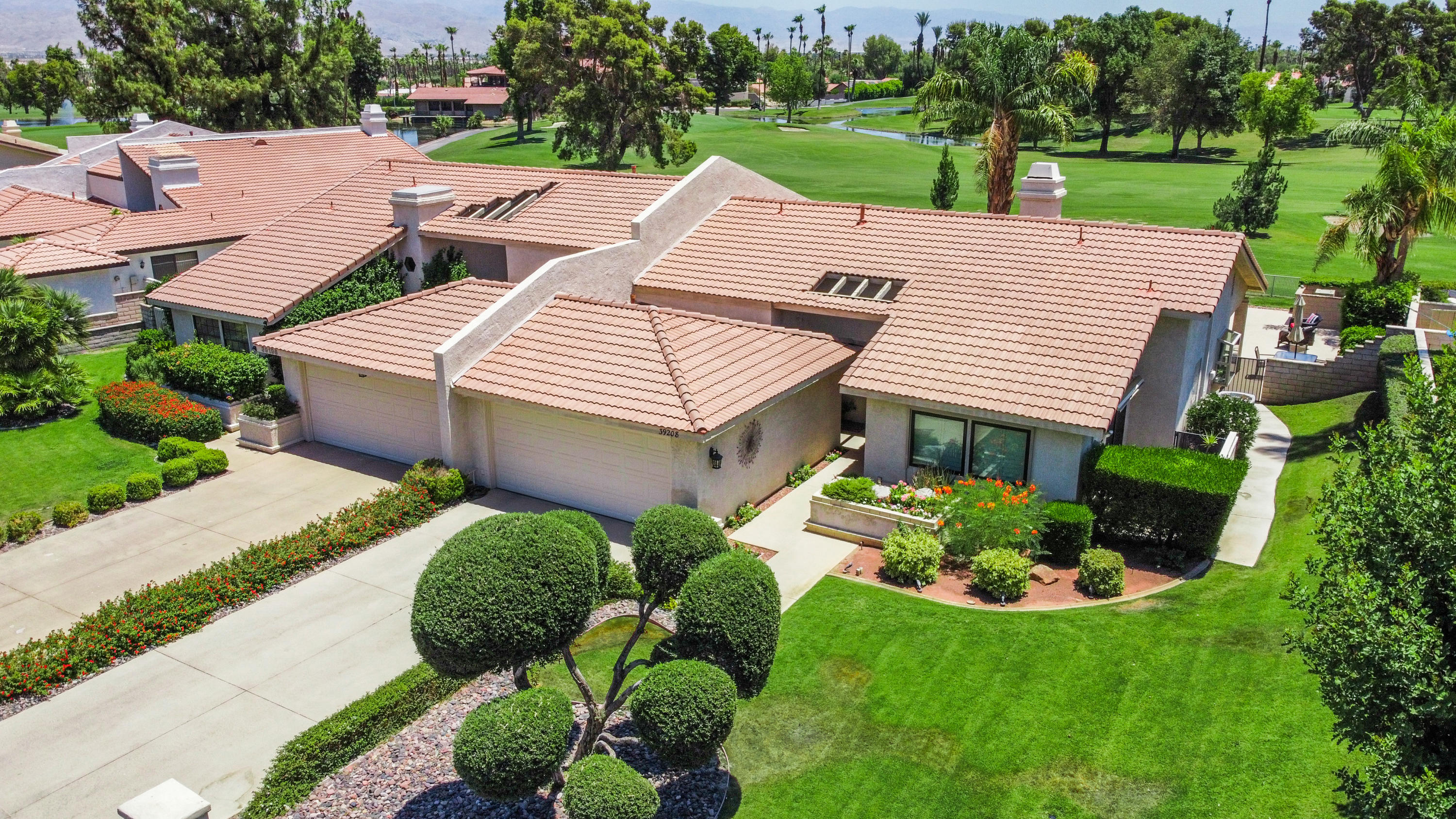 Enjoy golf course and mountain views right on the 18th Fairway of the popular Avondale Country Club. Still owned by the original owner! Large wrap around patio for entertaining outside plus luxury adjustable covered patio area! This is the perfect place to be if you love to golf. Three bedroom, highly upgraded home with newer private pool and spa add to the fun in the sun and views here. Chefs kitchen with scenic views. Tile floors and NEW carpet throughout. Open great room floor plan with tile floors, vaulted ceilings, fireplace, adjustable powered blinds. Beautiful master bath with separate bath and shower. One bedroom serves as an office/bar/bedroom with sofa sleeper. Inside a 24 hour guard gated golf community, you have it all here with all the amenities you need for a wonderful retreat in the desert.