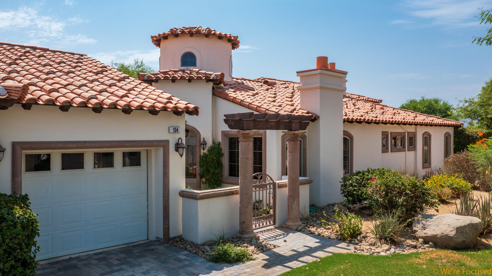 Welcome to Villa Portofino, the Desert's PREMIER 55 or better community located in the heart of Palm Desert. 104 Piazza Perrone is sure to impress the most discerning buyers.  This Vinci floor plan is the largest floor plan of the 36 original single level homes in the community. High coffered ceilings throughout, solid maple cabinetry in kitchen, bathrooms and expansive built-in bookshelves in den, wet bar, two car tandem garage with golf cart and full size garage doors with direct access to home, new carpet in guest bedroom and den, closets by California Closets, recently painted, sparkling Travertine floors, two patios with coveted SOUTHERN exposure for those breathtaking mountain views. The kitchen is stunning with pull outs in all cabinets plus a new stainless-steel range, oven, microwave, refrigerator and dishwasher and even a brand new sink!! Special bonus - this one has TWO fireplaces! BEST location in community as this former model home is situated in the first cul-de-sac next to clubhouse! Just a stone's throw from your front door and you are catching a movie in the onsite theater, having a cocktail at happy hour, dancing the night away at supper club, enjoying an aquatic class in the morning or taking a yoga class in the yoga studio. HOA includes, Cable, Internet, Earthquake Insurance, roofs, clubhouse, gas and more