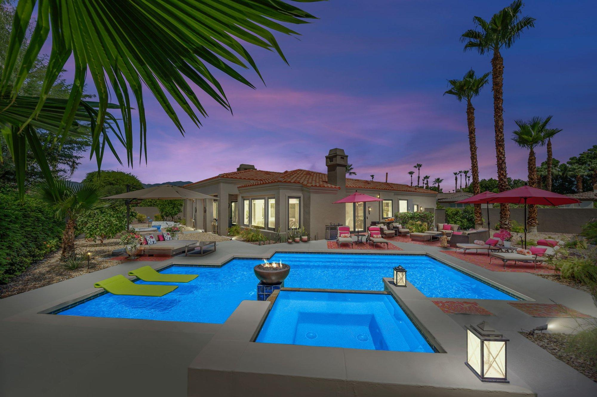 Welcome home to the gated community of Tierra Vista in Palm Desert. Your friends & family will be wowed by this gorgeous, recently remodeled jewel box of a home in this boutique community conveniently located close to everything the desert has to offer. This premium, southern lot provides room for the whole gang is perfect for entertaining year-round. Fire up the grill, sip a libation, frolic in the saltwater pool & spa, or gather around the giant fire pit, & watch the sunsets while taking in the beautiful landscaping from multiple patios. Inside, you'll appreciate the light & bright, open feel of the great room. Just off the entrance is the office that will make working a pleasure. You'll also enjoy an all-new, custom, chef's kitchen with quartz counters, Sub Zero stainless appliances, & new cabinets, framed by views to the patio & adjacent to one of the living areas. The primary bedroom suite features lovely built-ins & access to a sitting area outside. The primary bath has dual sinks, a vanity, a waterfall bath, a frameless shower, & a spectacular closet. The three guest rooms, including the detached casita, are just the right size. This home has been recently painted inside & out, has new pool equipment, a tankless water heater, HVAC units, windows, sliders, flooring, designer window treatments, lighting, and custom shutters. Tierra Vista is close to world-class golf, tennis, pickleball, hiking, biking, dining, theaters, & PSP airport. Low HOA's to boot!