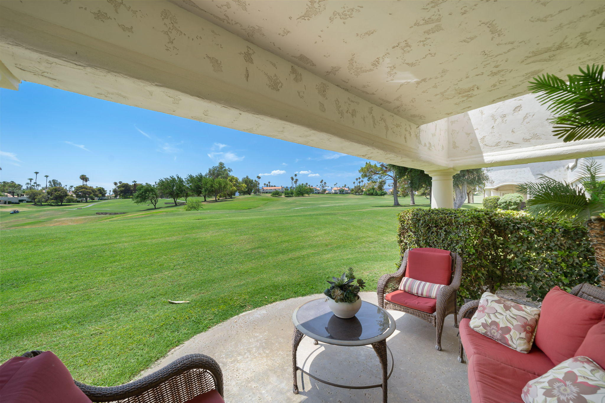 LOCATION LOCATION LOCATION!!  CLEAN CLEAN CLEAN!!  VIEW VIEW VIEW!!  3 Bedroom 2.5 Bathroom  LOWER LEVEL CONDO! There is no doubt that you have found the best location in the Prestigious Desert Falls Country Club with a LOWER LEVEL 1814 SQ FT  3 Bedroom 2.5 bathroom home on the golf course with  open floor plan.    The Patio opens up to immense double Fairway Views with a shady sought after South West direction. The Scottish Links Championship Golf course is semi-private.   This home is sold Turn Key  ( what you see is what you get.)  The Quality Furniture Absolutely  enhances this condo .  2  suits for your family or guests needs both with LARGE walk in closets. A third bedroom/den with closet. The spacious Master suit has a big on suite with tub and separate walk in shower.  Desert Falls  location is close to the deserts famous El Paseo shopping, Fabulous Dining, CASINOS, and international airport. HOA dues include 32 pools one of witch is JR. Olympic size lap pool and spas - pickle ball - Lighted Tennis - Fabulous Gym and you can have dinner at the Country Club.  Pay as you play golf or Buy a membership. Great country club great people. See it and you will love it.