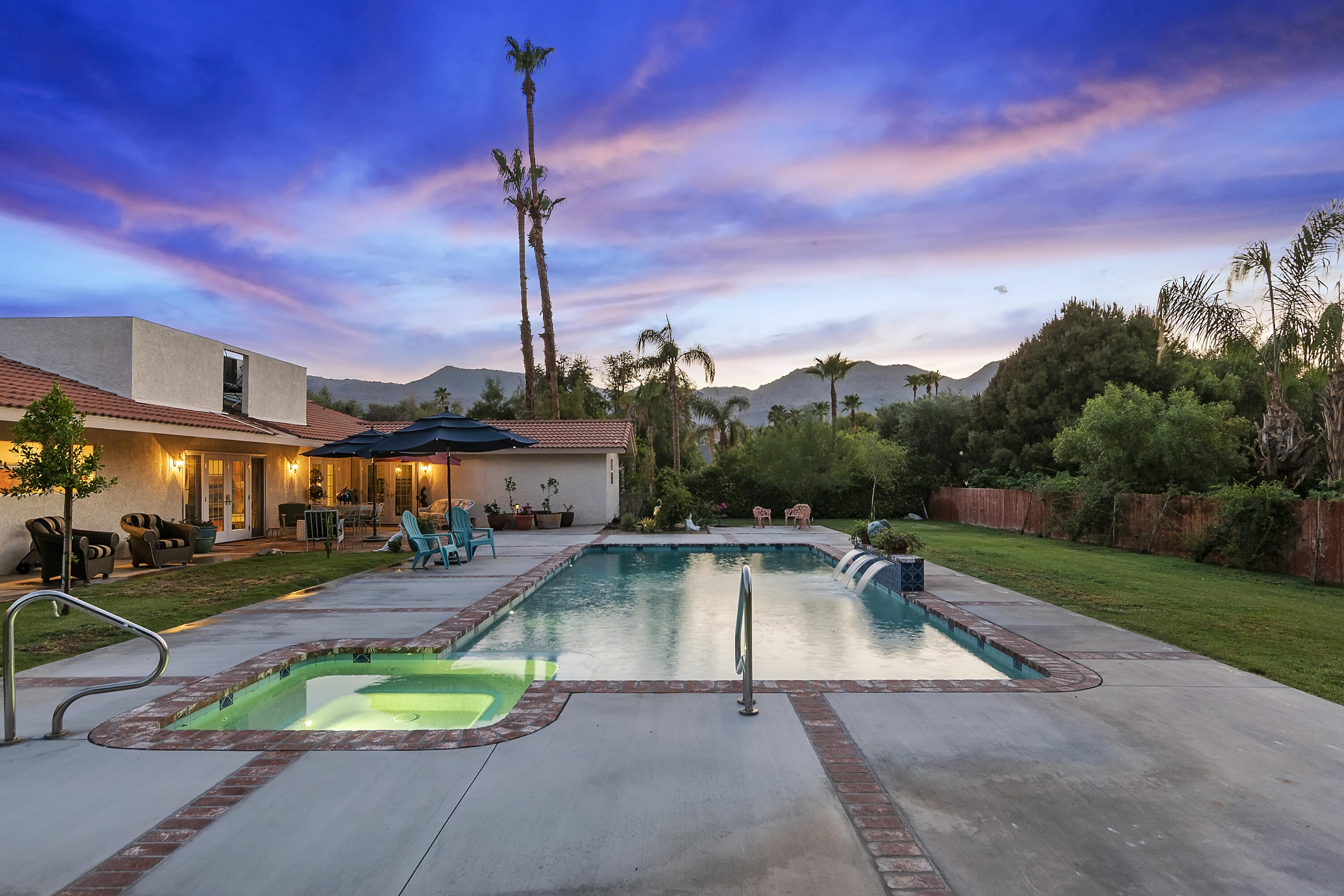 VIEWS,Views, Views! This charmer has been redone top to bottom. Archway, flooring, new drywall & plaster, new doors and most windows.  The artist/owner has created an indoor/outdoor lifestyle paradise.  French gardens, totally remodeled pool & spa, gourmet dining, office/studio and plenty of room for expansion should you prefer a free standing casita or art studio.  There is abundant storage inside and out. 3 car garage and one of the finest, peaceful neighborhoods in South Palm Desert.. No expense was spared to create this 'Shangri La'.
