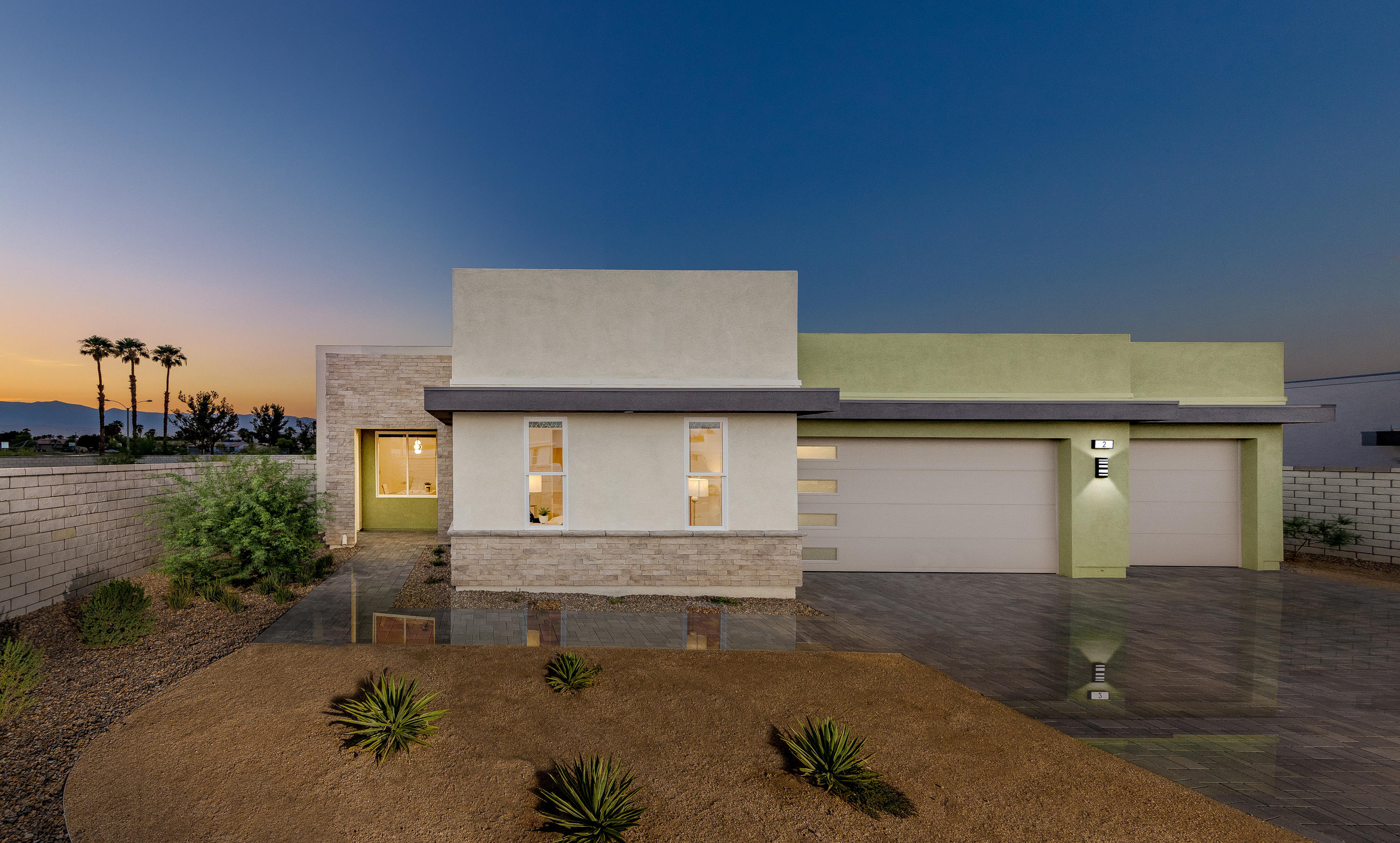2540 SQ FT, 4 BEDROOMS, 3 BATHS, OVERSIZED 3 CAR GARAGE, TWO COVERED PATIOS, POOL/SPA, SOLAR SYSTEM.  IRIDIUM  is a boutique community of modern homes influence by the mid-century movement that has inspired desert architecture for years.  Created by Far West Industries, Iridium offers an enclave of 27 homes in a gated community, crafted in a distinctively modern style.  Designer appointed and architecturally honed with the strength and character of linear motion, Iridium takes todays living to a new style, a new comfort, a new convenience.  Generous homesites that include a private pool and spa that makes your new home feel like a complete resort.   You will discover endless lifestyle opportunities with verdant green golf courses, diverse dining options, art galleries, boutique stores, casinos, the El Paseo shopping district, and all within a few minutes' drive from your new home. Pictures are from the model home and not the home offered for sale. Sales have been robust. Final phase for coming soon! Please call first to book an appointment.