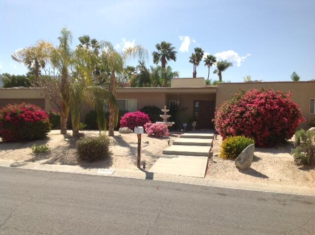This property is located in a quiet neighborhood of South Palm Desert. It offers 3 bedrooms (one used as an office), 3 bathrooms, formal living room with fireplace, formal dining room and a very spacious family room. Each bedroom has a ceiling fan as well as the dining room and family room. One A/C unit was replaced in February 2021.  It also includes a large laundry room with sink and lots of cabinet space. The master bedroom has a big walk-in closet plus two additional closets with mirrored sliding glass doors. The leased solar system with SunRun will have to be assumed by the buyers. Enjoy relaxing under two covered patios by the pool. PROPERTY SOLD AS IS.