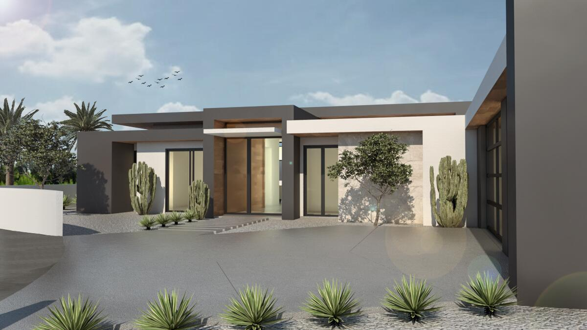 Equisite Brand New Construction to be completed June 2022. This is a fantastic opportunity to purchase and select your Contemporary desert Dream Home. Located on a spectacular South Facing lot with breathtaking mountain views. The sales price includes a 4,039sf home featuring 4 bedroom suites plus powder bathroom, media room, office space, high end finishes throughout, pool and spa, landscaping, private motorized entry gate, 3- car garage and an open modern floor plan. Plus, an optional detached casita with covered patio is designed and can be added if so desired. Purchase early and work with the builder to select all your personal finishes and design. Great location near golf courses, shopping, dining, entertainment, dog park and easy access to the airport. Plus, this home will have solar and  is located in IID for low electric costs. Renderings attached are examples of the home to be built and not the final layout and finishes.