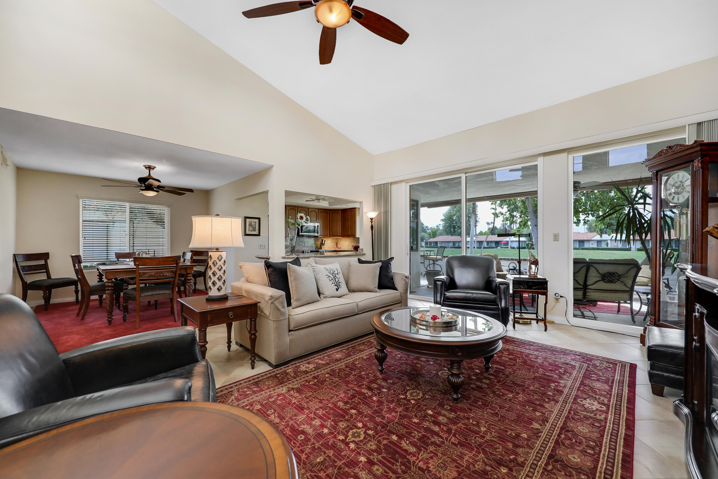 Back on the Market and we will be taking calls for showings over the entire weekend of 10/08/21 to 10/10/21 Please call listing agent for appointment. This beautifully remodeled 30 plan is a 3 bedroom 2 bath home facing South and looking across #3 and  down the fairway of the # 2 hole of the North  golf course to the Mountains in the background. This home is only a few steps from the closest Community pool as you walk out from the extended patio. The interior has been redone to include custom cabinets, granite counter tops, and double pane windows and sliders throughout. The two car garage has extra storage including shelving  and an overhead area. In addition this home has the added plus value of Solar panels on the roof that are paid for and reduce the electric bill to the absolute minimum including rebates. solar tubes and skylights add to the light and airy feel of the home as do the soft colors. This one is very special and shows the care and attention to detail by the Home owners. Rancho Las Palmas Country Club has a 27 hole golf course available to Homeowners as well as tennis and pickle ball courts, a fitness center and dining facilities in the Club house. You can also walk to the front gate, the Omni Hotel and ''The River'' complex just out the gate with all it's movie theaters, shops and restaurants.