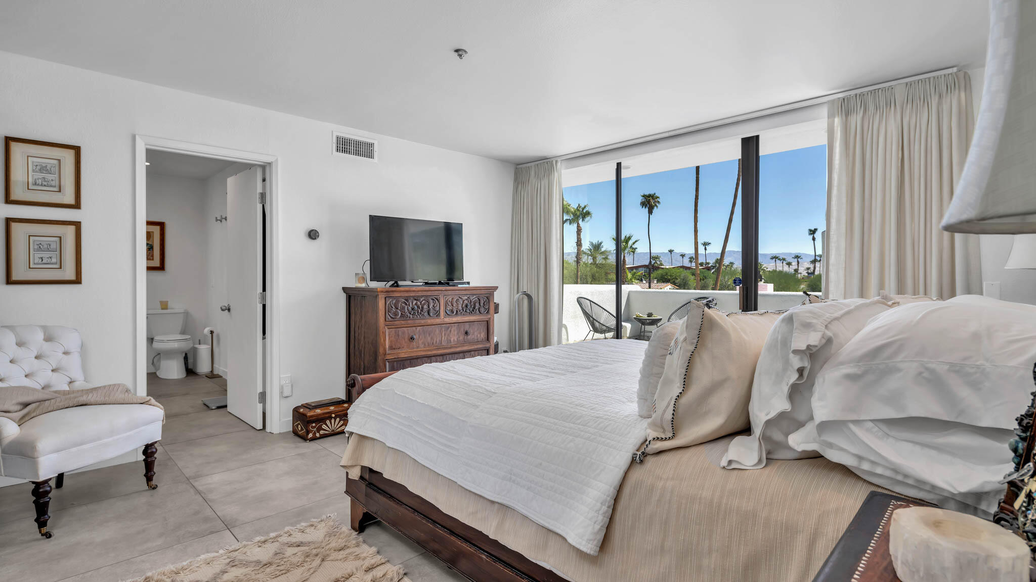 Gorgeous recently remodeled 2-story end unit Condo located in quintessential Little Tuscany just seconds away from Downtown Palm Springs! New kitchen, new bathrooms, entire new landscaping! Private patio with amble room to entertain! Beautiful community pool and spa!