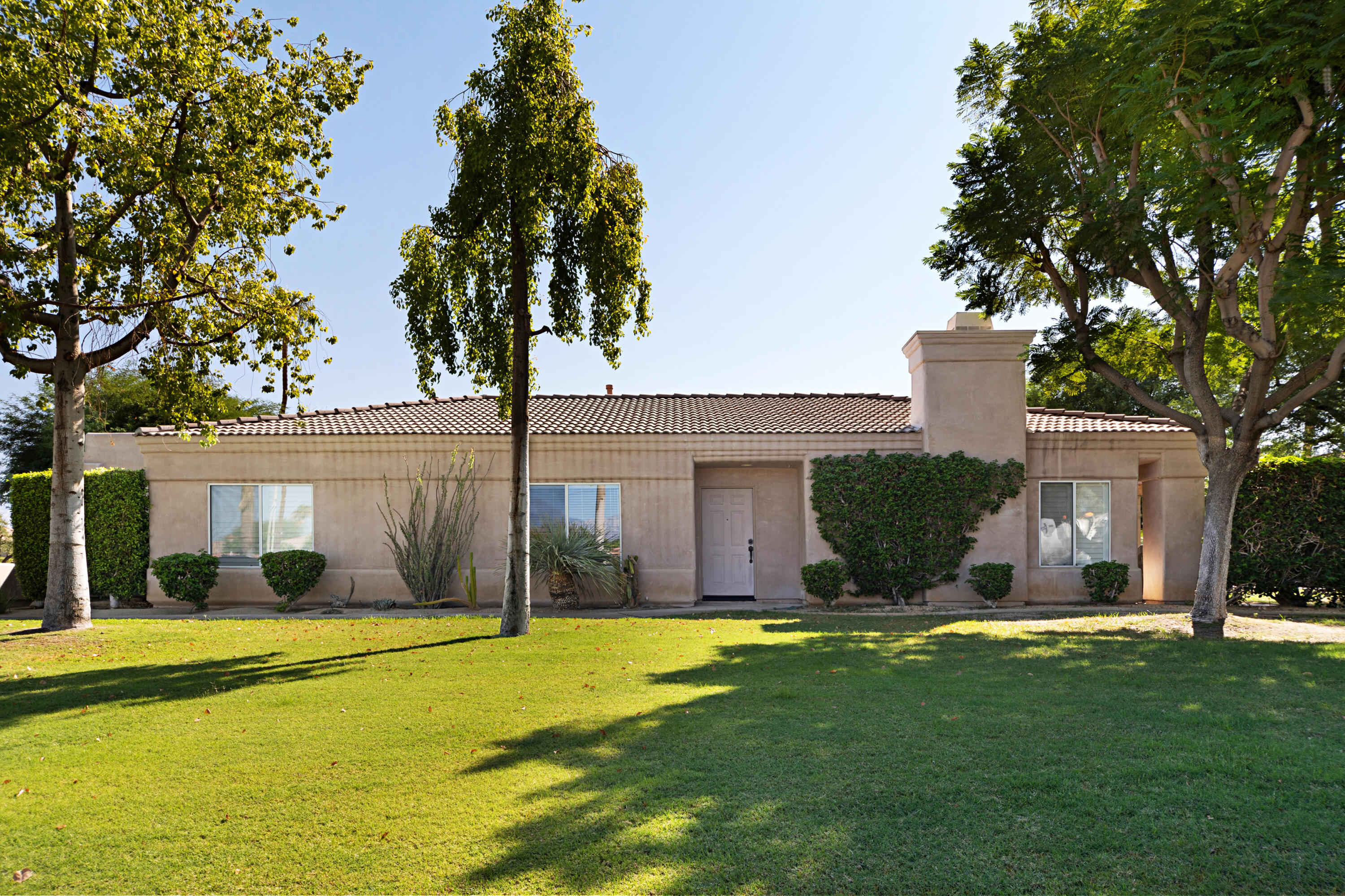A very desirable, spacious, 3 bedroom 2 bath condo of 1775 sq.ft. conveniently located a perfect distance inside the Guard gate of Bermuda Dunes Country Club. This design offers a modern floor plan w/living room, fireplace, family room, & kitchen all open together. All three areas look out on large south facing patio through a wall of windows plus slider. There's a good sized office, den/bedroom on your left off the entry plus another spacious additional bedroom across the hall with a full bath nearby & with new granite counter & sinks . The master suite has good separation from the guest bedrooms and is quite large with a area for exercise equipment or study area. Master bath has been remodeled and is very attractive. This condo is one of ten within ''The Greens at Bermuda Dunes'' which consists of 10 condos in a near circle with a community pool/spa in the middle. This condo is now vacant, clean and ready for move-in. Bermuda Dunes C.C, has a long history and was one of the courses used in the world famous Bob Hope Desert Classic and this championship PGA course meanders through the development with houses well above the million dollar level and everything in between.  There is popular large private Bermuda Dunes Country Club clubhouse for its members and also the convenient private Bermuda Dunes airport is just northeast of Bermuda Dunes Country Club. Its just a 5 minute drive to connect to Interstate 10 from Jefferson. This property should move fast so make offer now!