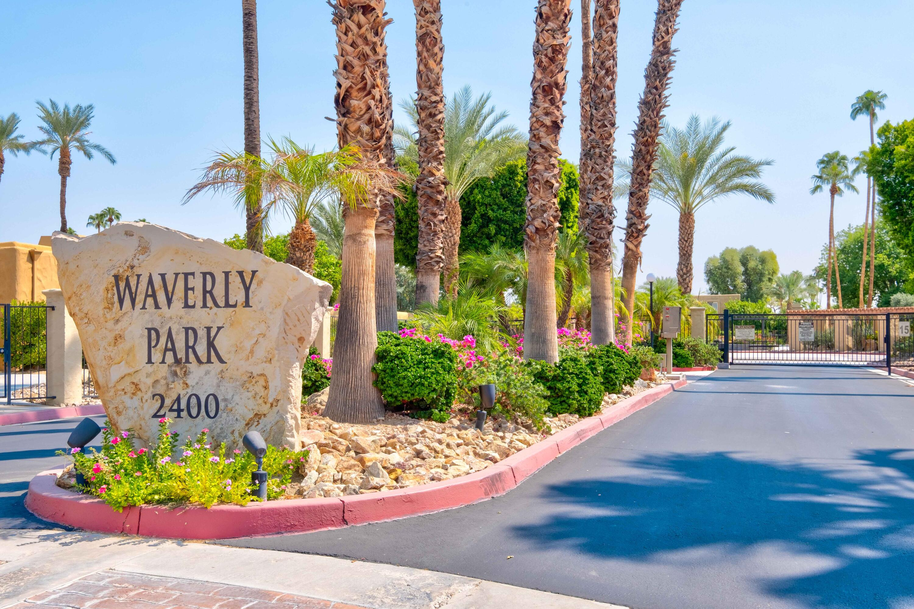 Enjoy the best of both worlds in this 2 BR/2BA Condo located in the beautifully landscaped Waverly Park Community of Palm Springs.  Front of condo faces S Birdie Way with a private gate to the front door. The 2 car attached garage and balance of the condo is within the gated community.  Upgrades include gently used newer appliances, less than 2 year old A/C and Furnace, Newer roller blinds throughout, newer plank porcelain floor tile throughout.  Both bathrooms recently updated with new fixtures, vanities and tile.  Granite countertops throughout the oversized kitchen.  Kitchen cabinets refaced with solid wood doors along with full wood drawers.  This 2 story condo has 3 outdoor spaces to enjoy the sunny weather in Palm Springs.  A large courtyard on the first floor, extra large second floor patio and front door gated area.  Second floor bedroom suite includes an extra large shower with walk in closet, private work from home area and access to the large balcony/patio.  The first floor bedroom suite includes 2 spacious closets.  Added household features include ADT security and Nest thermostat both smart phone accessible.  Waverly Park includes 3 pools, spas, tennis and pickle ball courts.  HOA fee includes water, trash and exterior building and grounds maintenance.  Rental minimum is 30 days with a history of rental prospects.  You own the land with this condo!  Furnishings available outside of escrow.  GPS - intersection of Birdie Way and N Winners Cir to Condo.