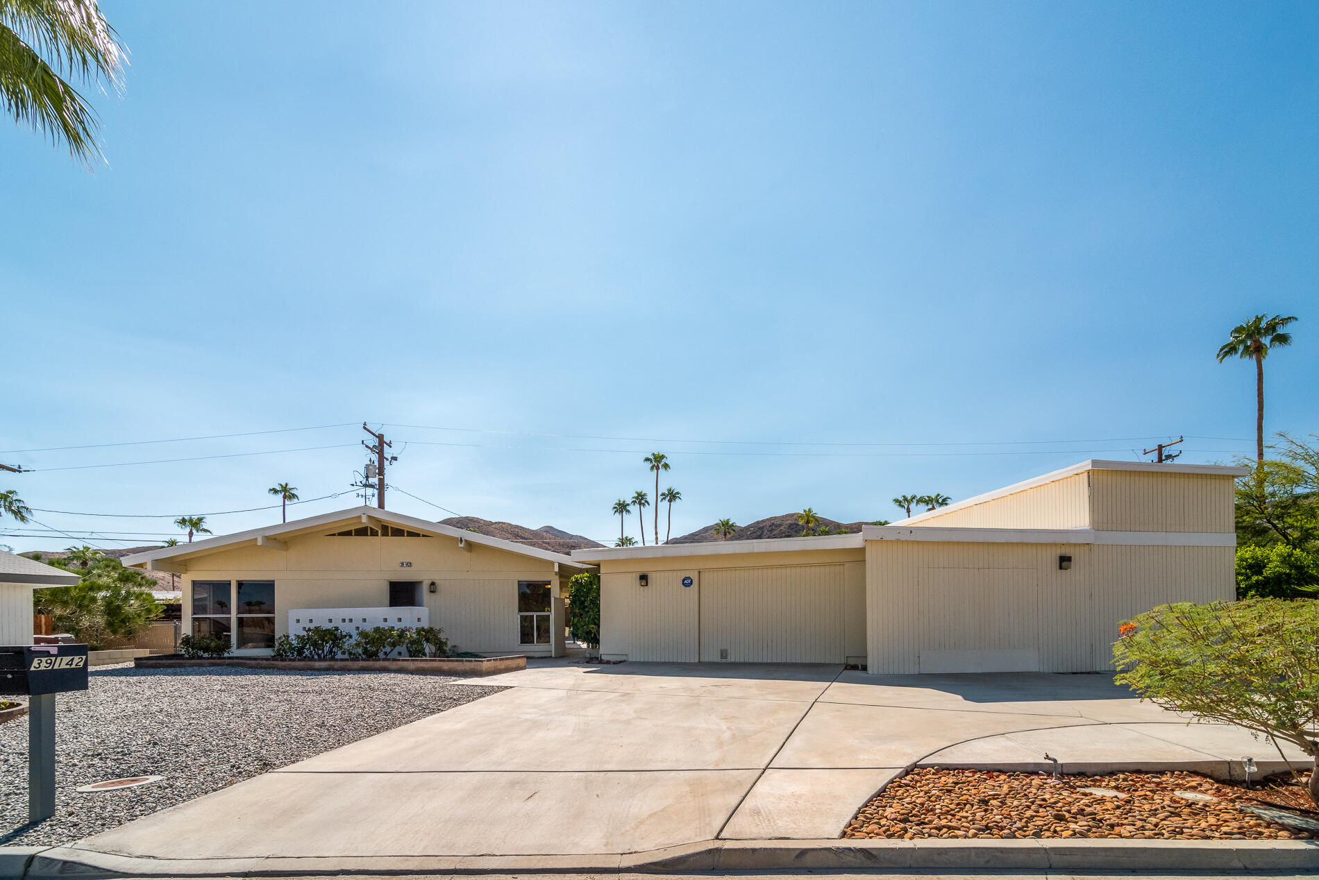Hi up in the Cathedral City Cove sits this 1961 classic , a 3 BR/2 Bath, 1,560 sqft of living space, Pool and Spa home with a 2 car sized garage and a Motorhome garage to boot with sewer and water hookups. The home has been well maintained and was owned by the same family for decades.  Features of the home include upgraded appliances in the kitchen, a living room -Dining room combined, a breakfast counter, a large multi purpose room that works well as a TV room, Study or Den. And outside, the back patio Has a gas BBQ, a very good size pool/spa that is currently drained, and lots of covered patio space. The detached 2 car garage has a working black room for film developing, this can be converted back to a full 2 car space. The bonus garage accomodates a large motorhome and golf cart or any other outdoor toys quite adequitely. Home is connected to sewer and assessment is paid in full. Dont wait to long, homes are moving very quickly in this very desirable Cove area!