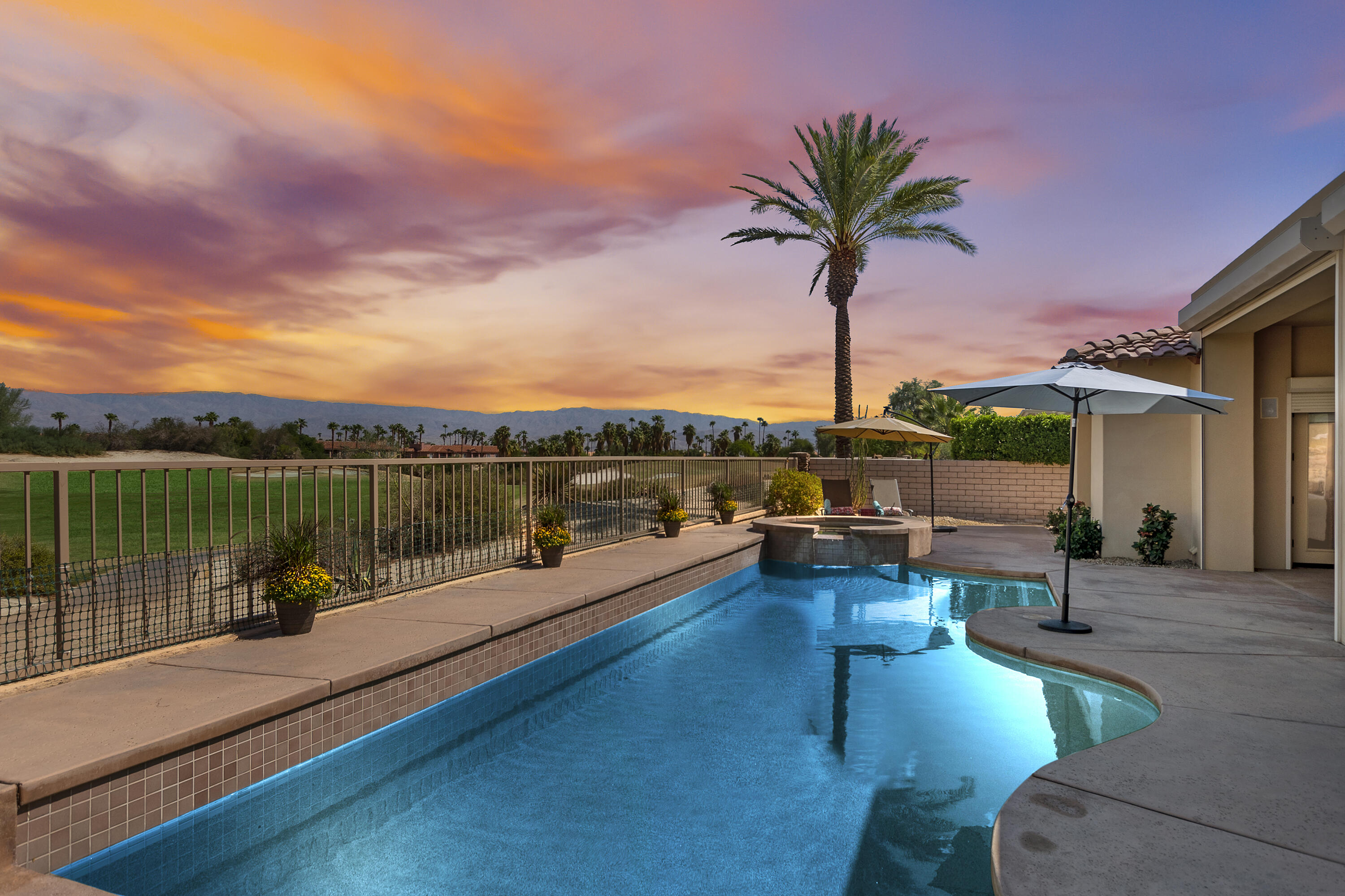 The only golf course view home currently on market in Montecito.  This home is in immaculate condition including pre-paid solar lease, security shutters and many other features.  Open floor plan with double doors onto large covered patio overlooking the pool, spa and Desert Willow Golf Course.  Upgrades include: added insulation, Santa Barbara (smooth) exterior finish, phantom screens on all external doors, epoxy flooring and swamp cooler in the garage. Low maintenance landscaping. Patio furniture that is included is listed on Seller's inventory list.