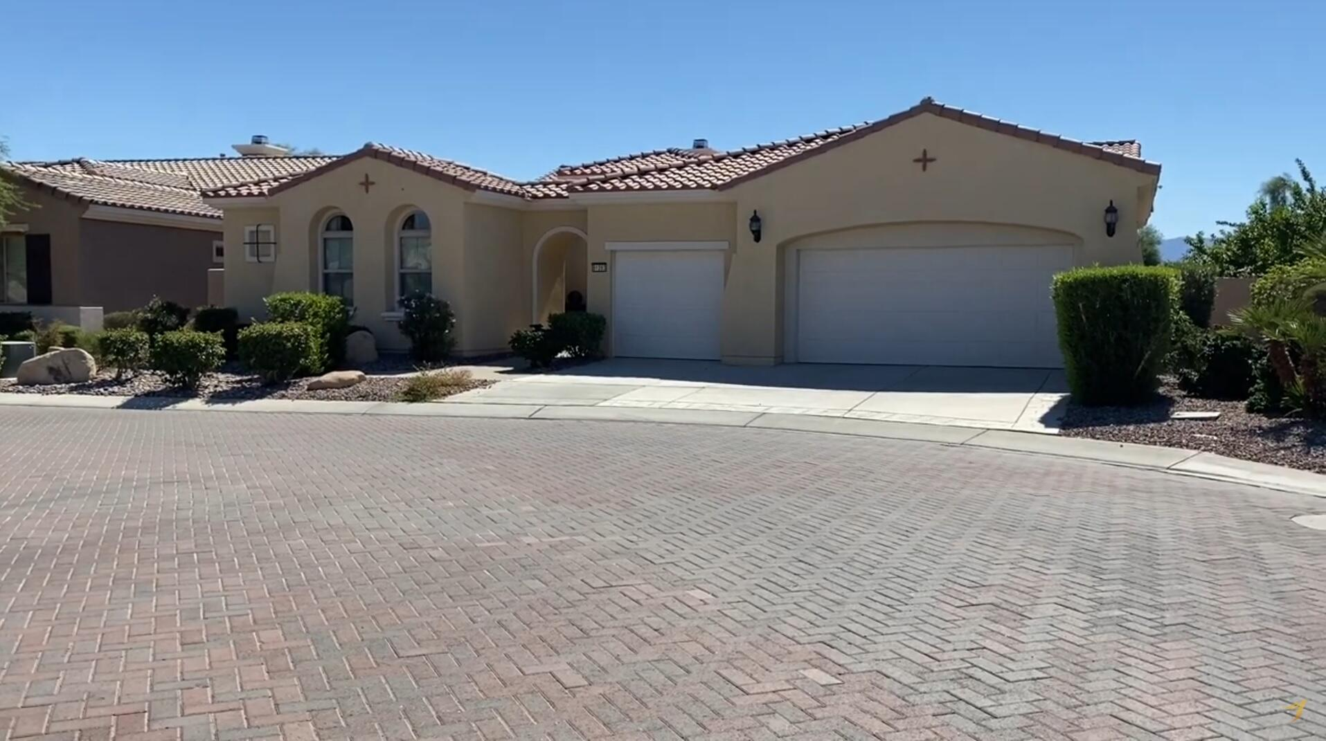 This popular 3 bed 3.5 bath approx 2,966 sq ft, plus den is in a highly desired location. Upgrades include raised panel cabinets throughout the home, stainless steel appliances, extended tile flooring, washer/dryer, casita, and courtyard. The Shadow Hills Golf Course meanders through the neighborhood and the 35,000 sq. ft. Montecito Clubhouse boasts a state of the art fitness center. Indoor and outdoor pools, tennis and more! The backyard has a beautiful view & heated spa to enjoy. This home features a south facing view of the championship golf course with lake and Santa Rosa Mountain views.