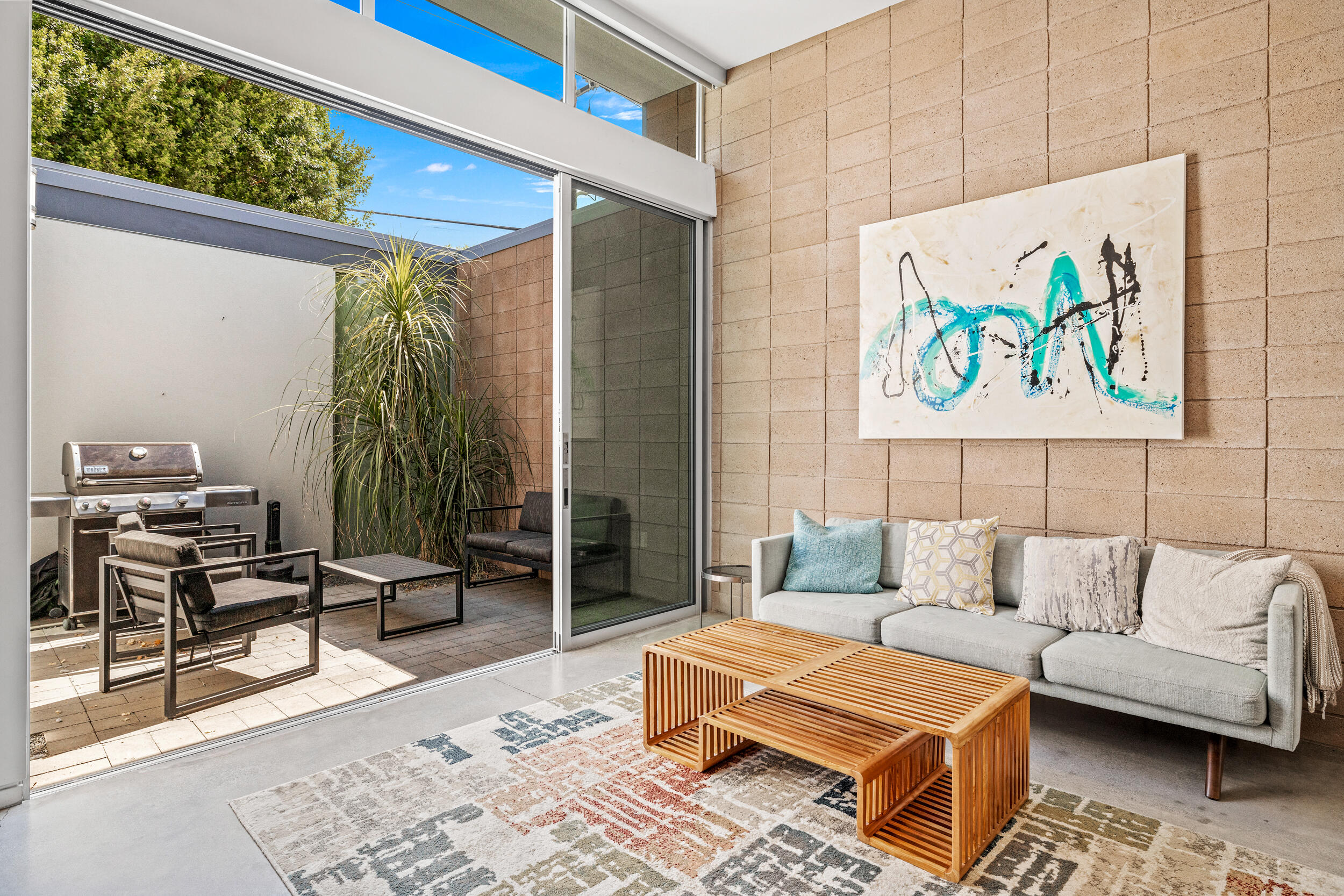 Well, what can I say, yes you CAN have it all! You can live the Desert Lifestyle right on El Paseo in style! This mid-century modern masterpiece is now offered individually for sale at an amazingly competitive price! Don't miss your chance to be the first to see this impeccable 2 bedroom 2 bath condo with a spa in the backyard. You will love the modern feel throughout, and the open floor plan where the living room and kitchen are combined. Amazing value, especially since this unit comes FURNISHED per inventory list! Reach out ASAP for more information. This will not last!