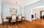Dining room with wainscoting.