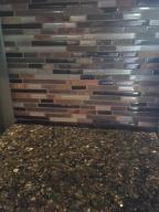 Glass tiled backsplash