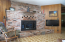Brick fireplace in the family room