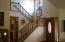 Oak banistered stairway