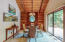 Dining room with slider to huge deck