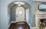 Beautiful arched front door in entrance foyer