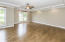 Master Bedroom is located on Main Level and has Hardwood Floor, trey ceiling with deep trim & ceiling fan